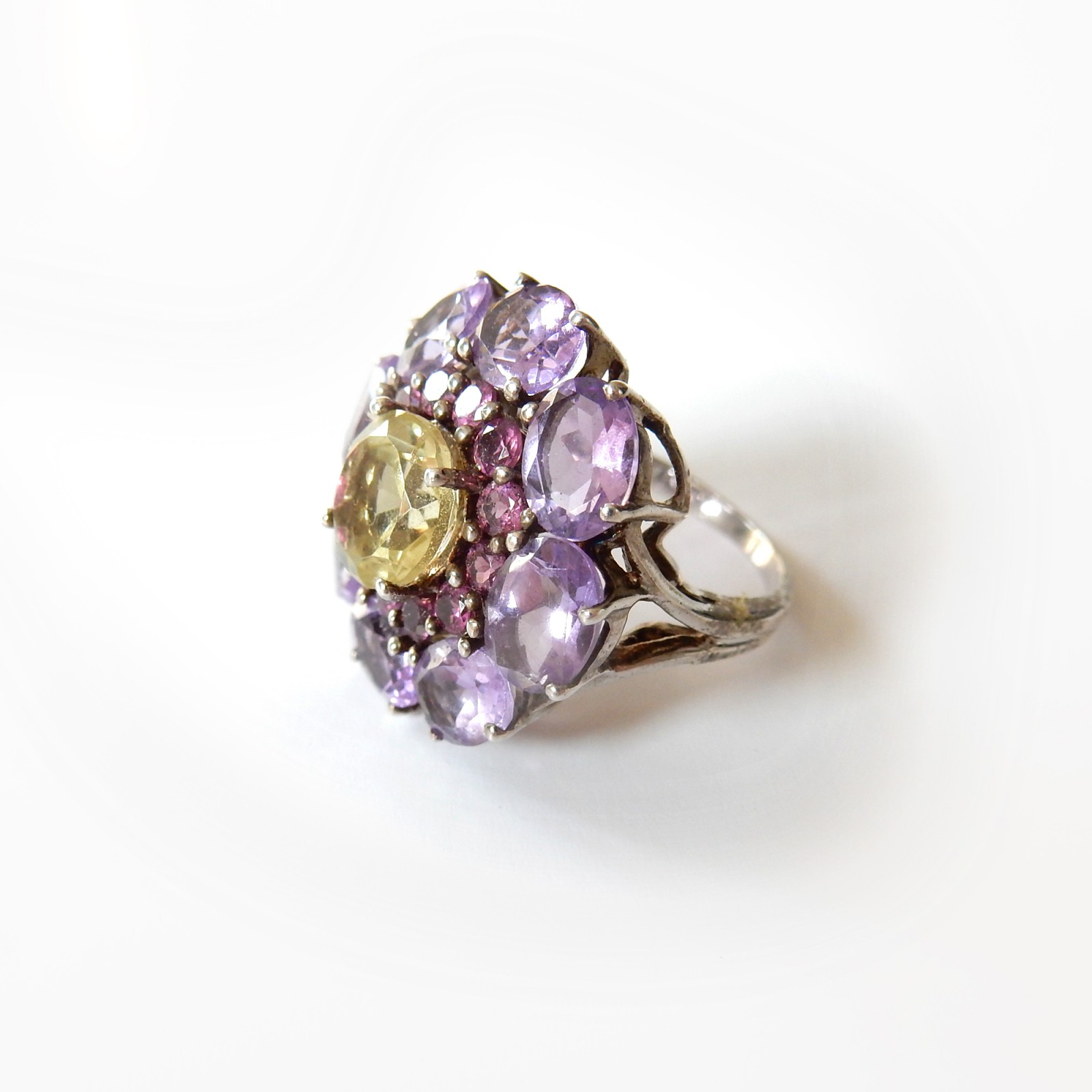 Photo of Amethyst Topaz Sapphire Dress Ring Solid Silver Fine Jewelery
