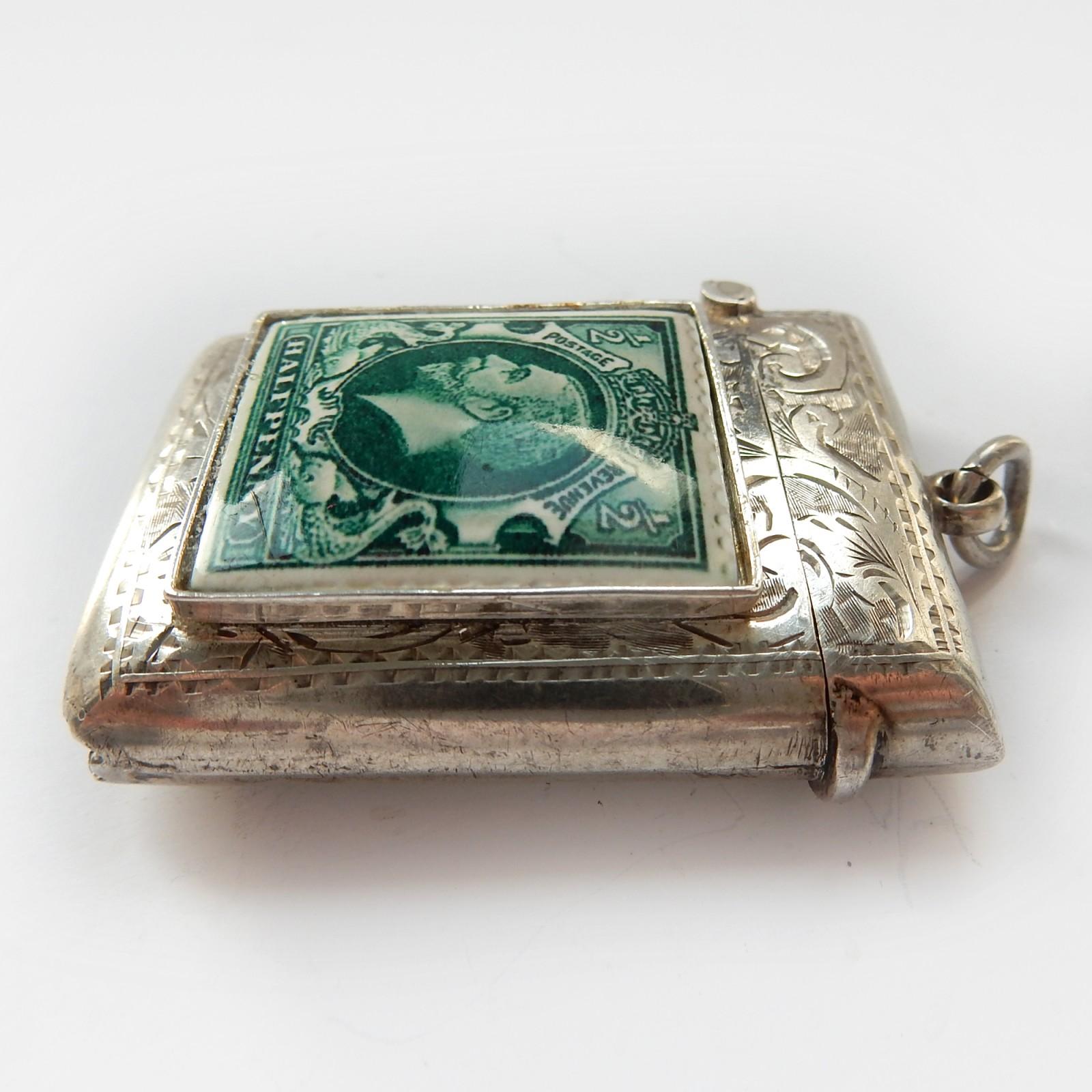 Photo of Antique Edwardian Solid Silver Enamel Half Penny Stamp Vesta Match Safe B'Ham 1909