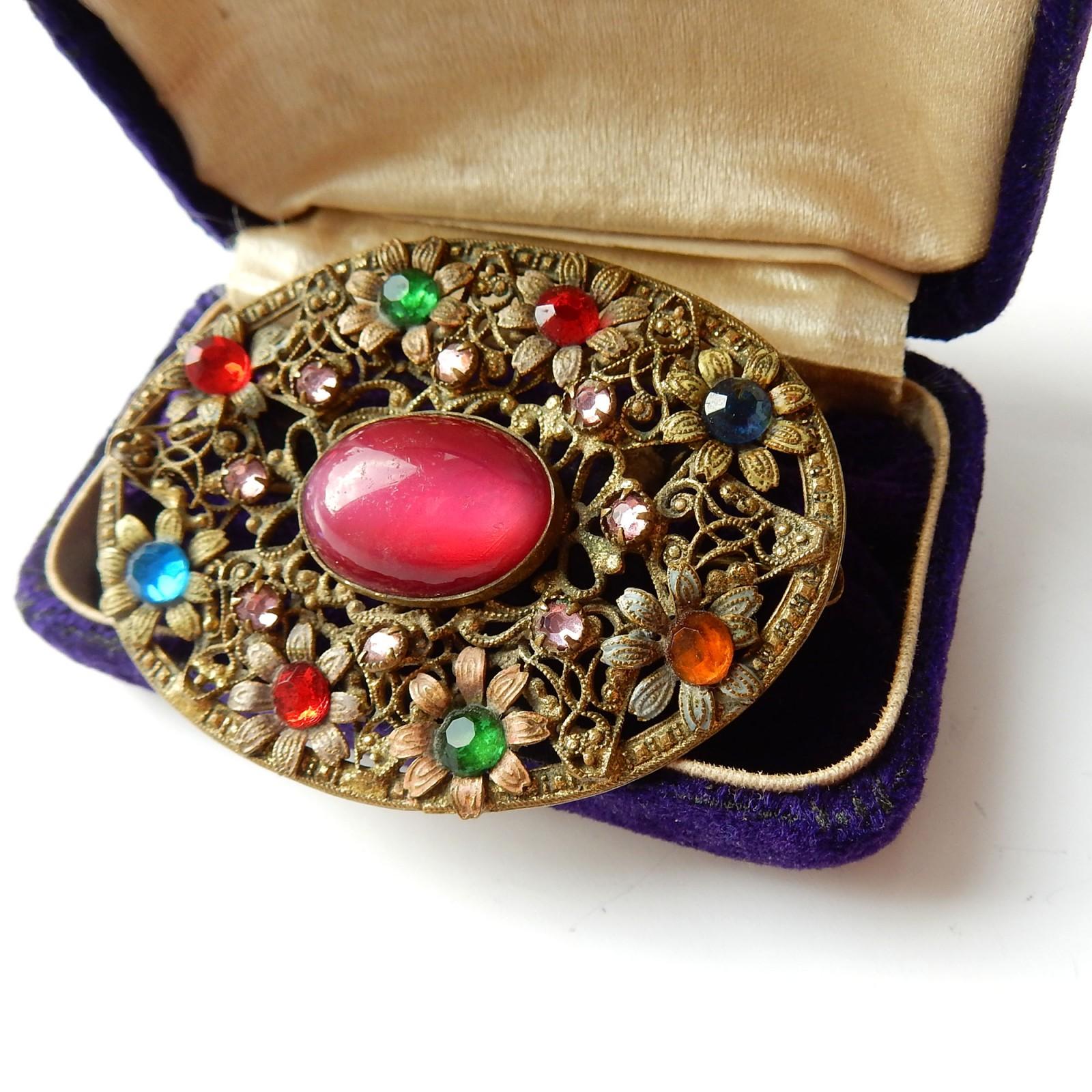 Photo of Antique Filigree Brooch Flower Paste Stone