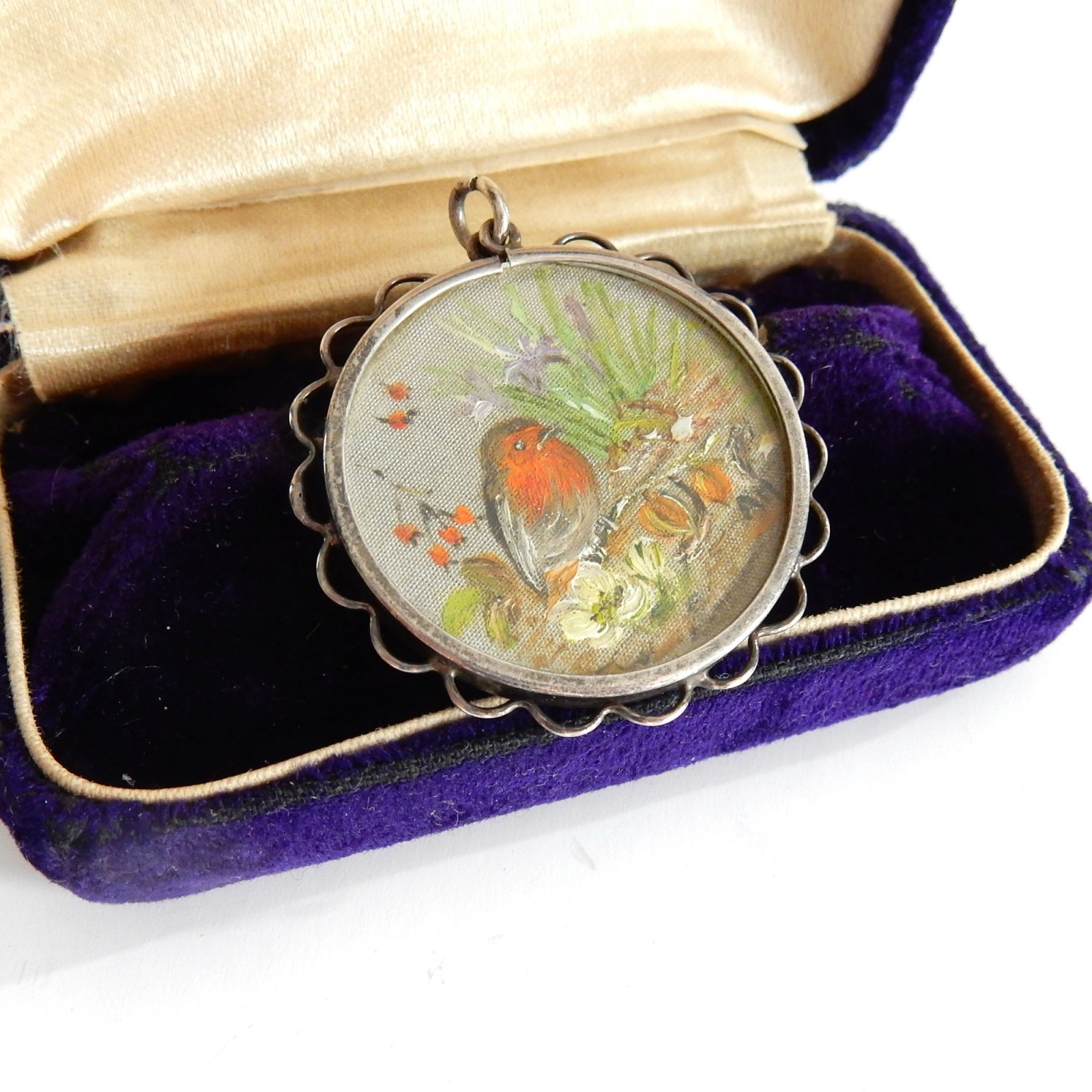 Photo of Antique Painted Robin on Silk Silver Locket Pendant