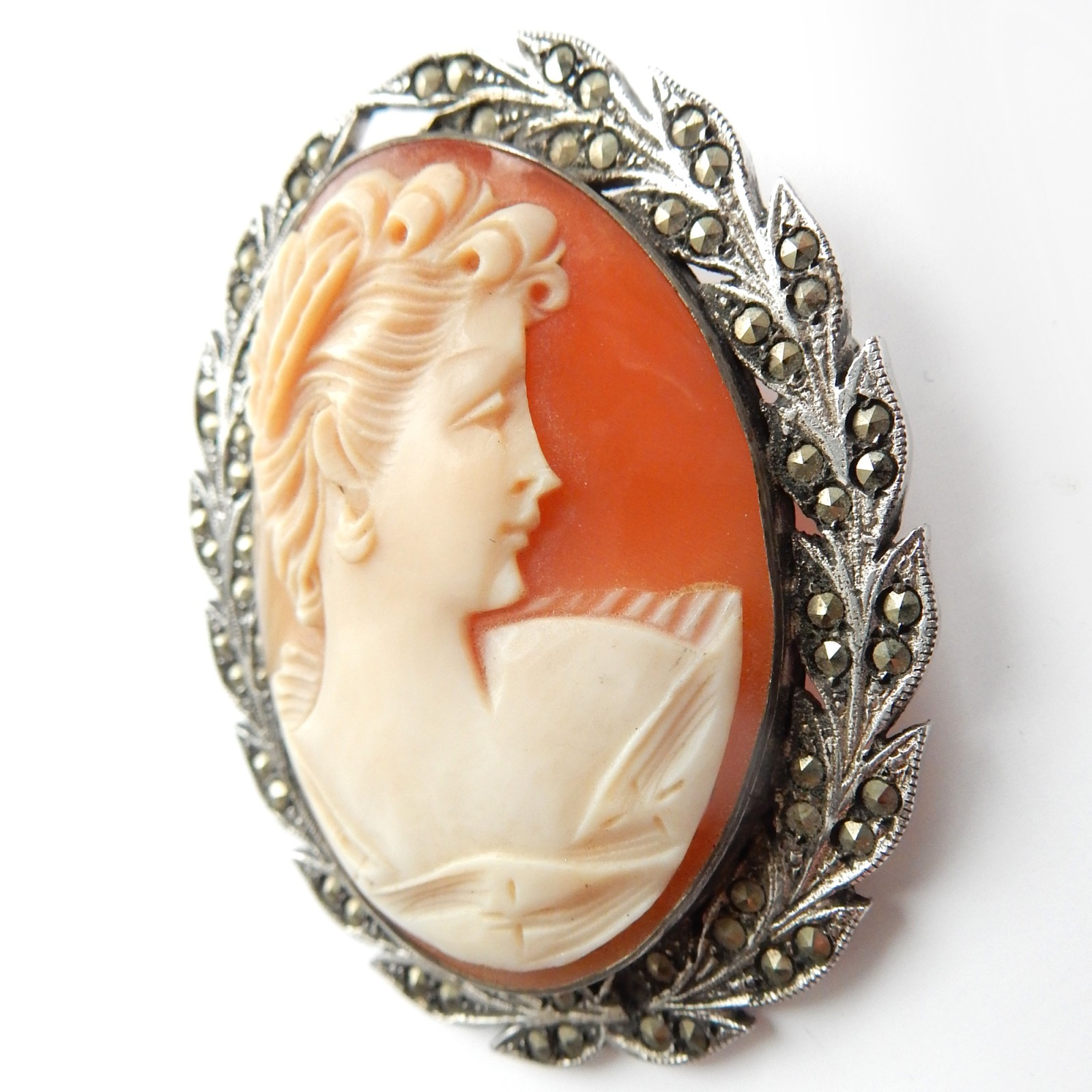 Photo of Antique Silver Marcasite Carved Shell Cameo Brooch Sterling Silver