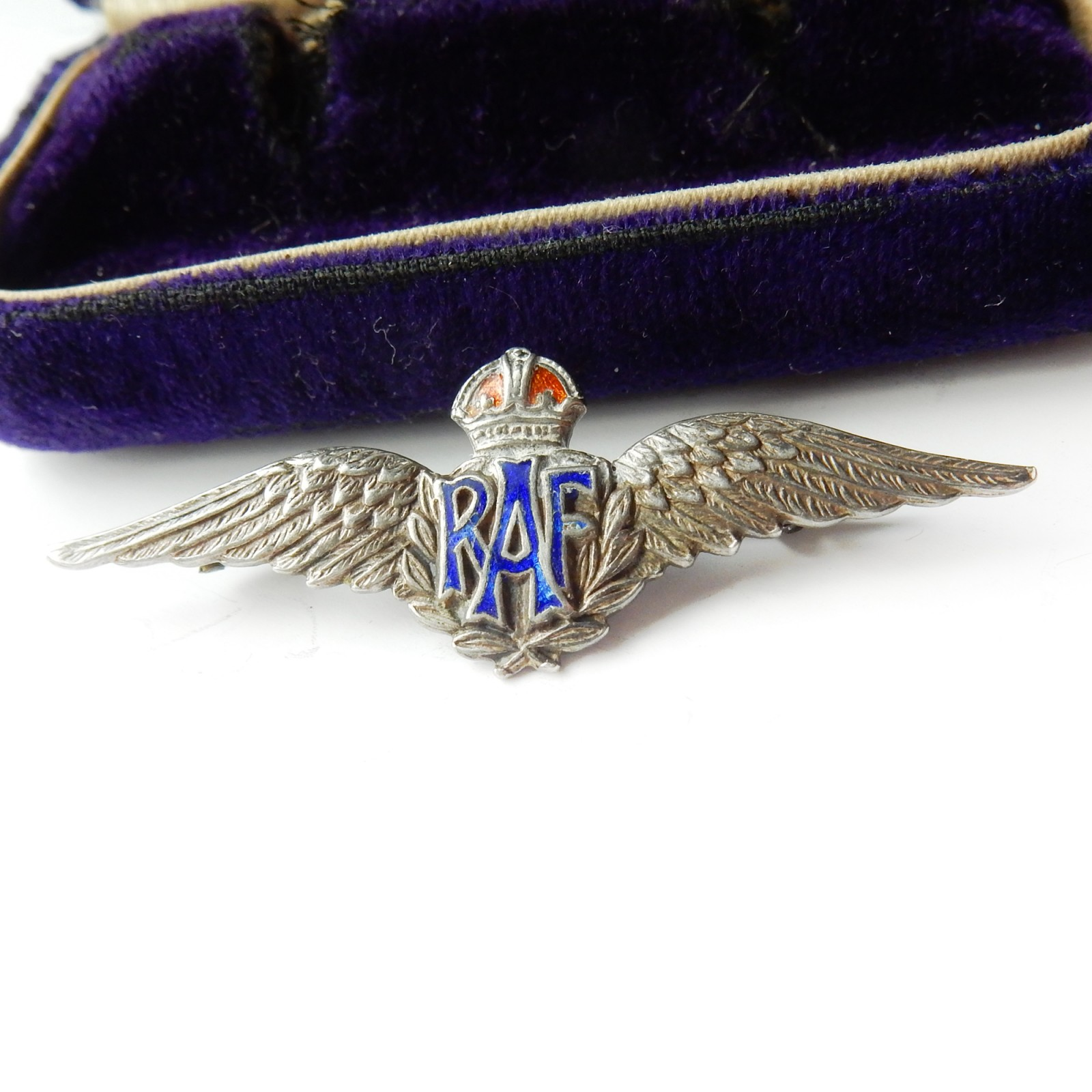 Photo of Antique Solid Silver RAF Sweetheart Enamel Brooch Pin