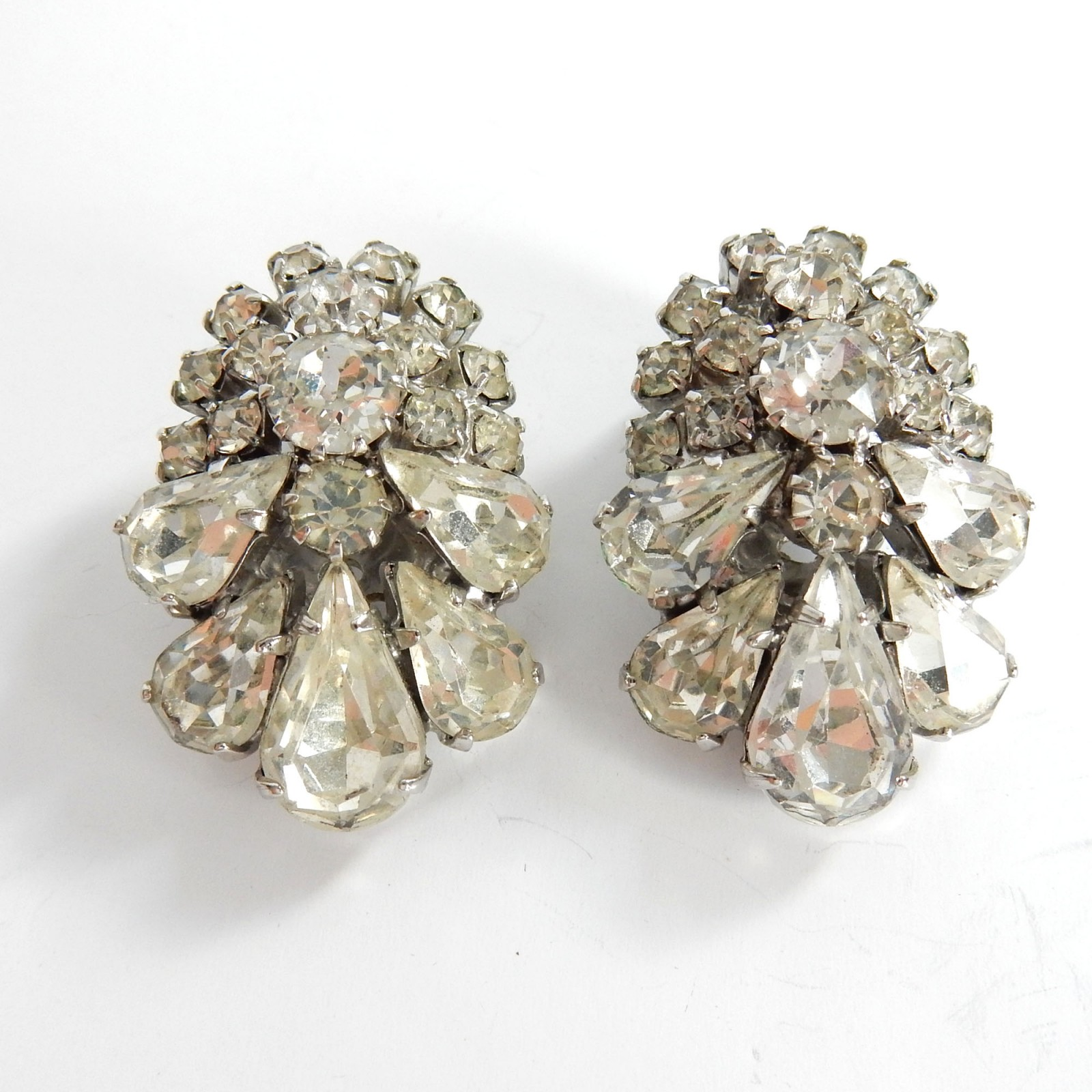 Photo of Antique White Ice Rhinestone Deco Clip on Earrings
