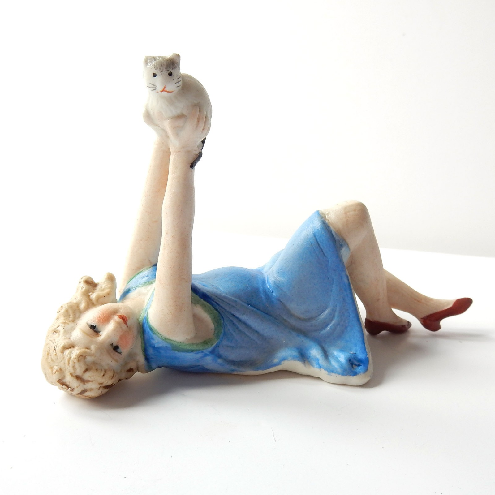Photo of Art Deco German Bisque Porcelain Lady with Kitten Figure Pin Doll
