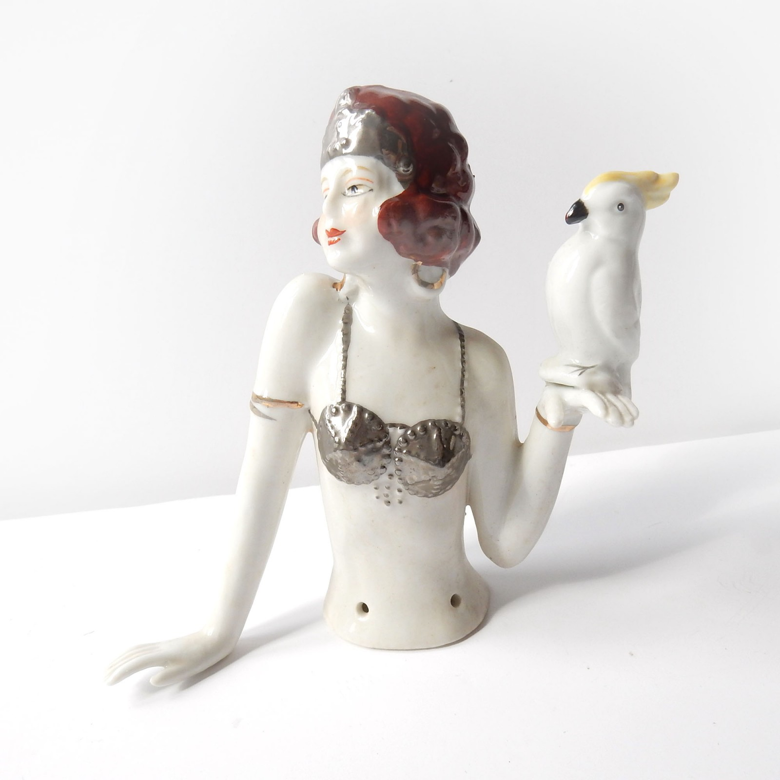Photo of Art Deco German Porcelain Ceramic Flapper Girl with Parrot Pin Doll Half Doll
