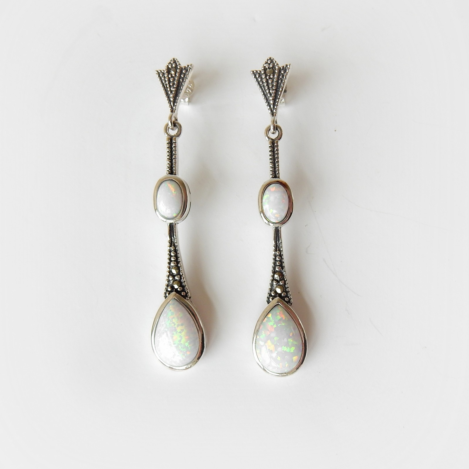 Photo of Art Deco Opal Marcasite Droplet Earrings Solid Silver