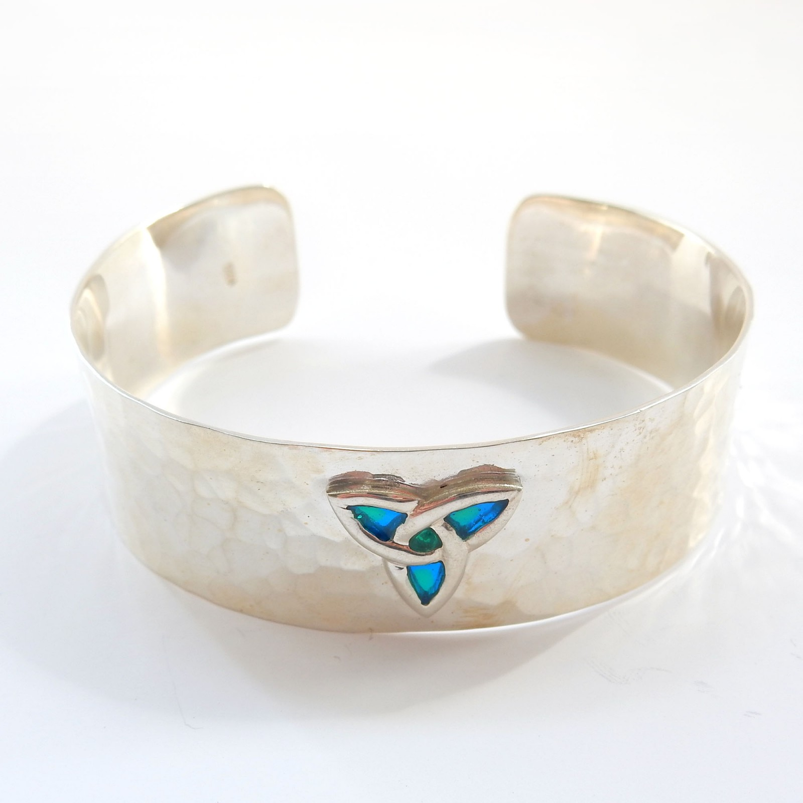 Photo of Arts Crafts Hammerware Celtic Enamel Cuff Bracelet Bangle Sterling Silver