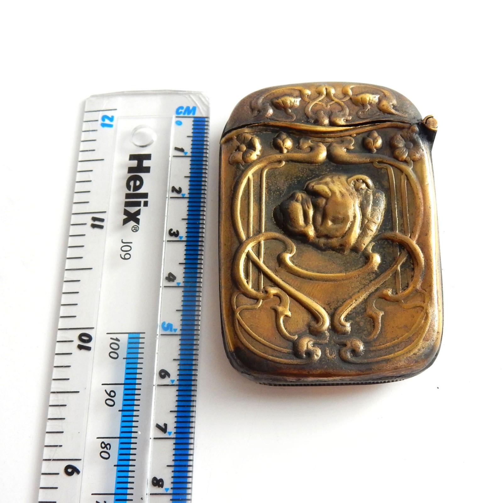 Photo of Brass Arts & Crafts Bulldog Vesta Match Safe