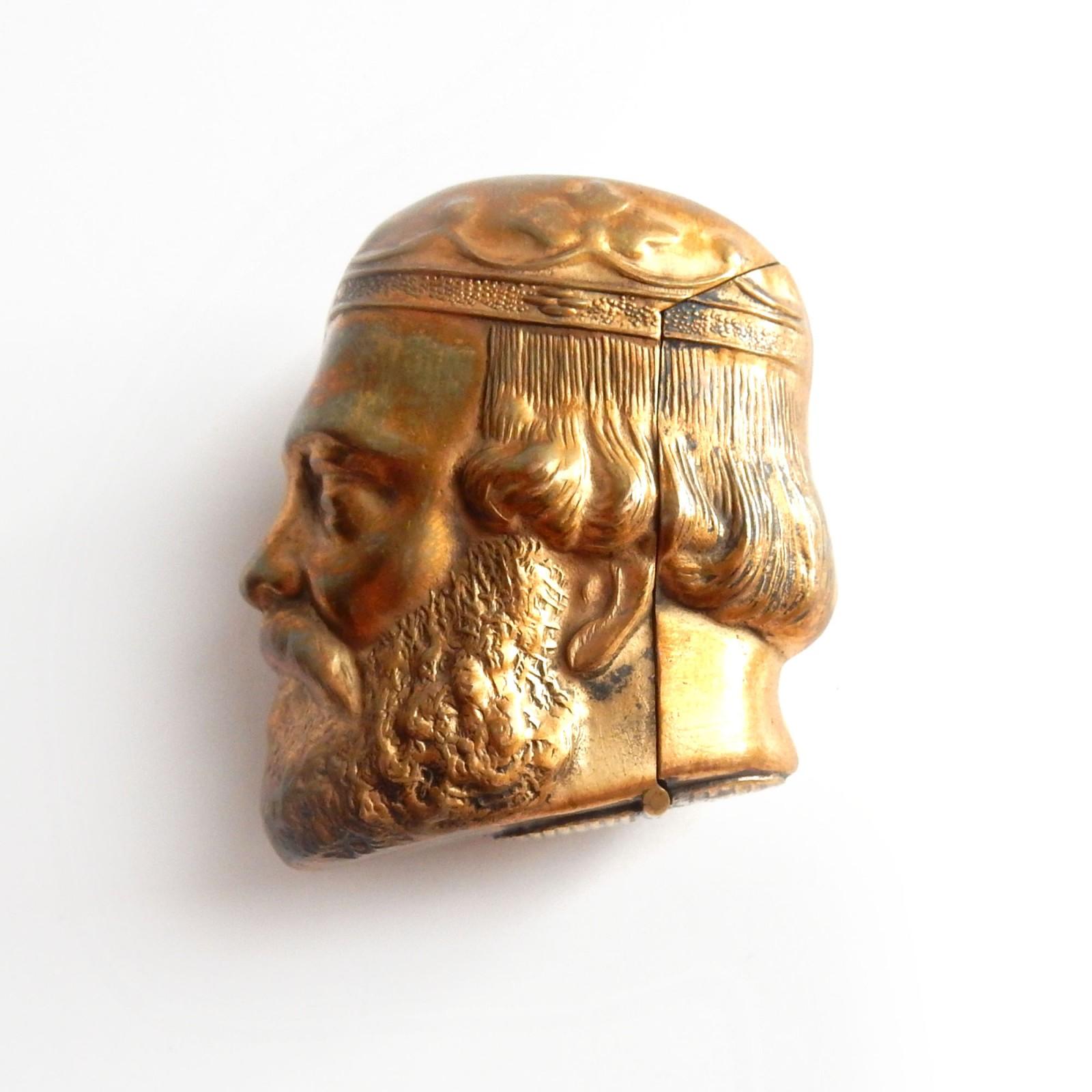 Photo of Brass Figural Historical King Vesta Match Safe