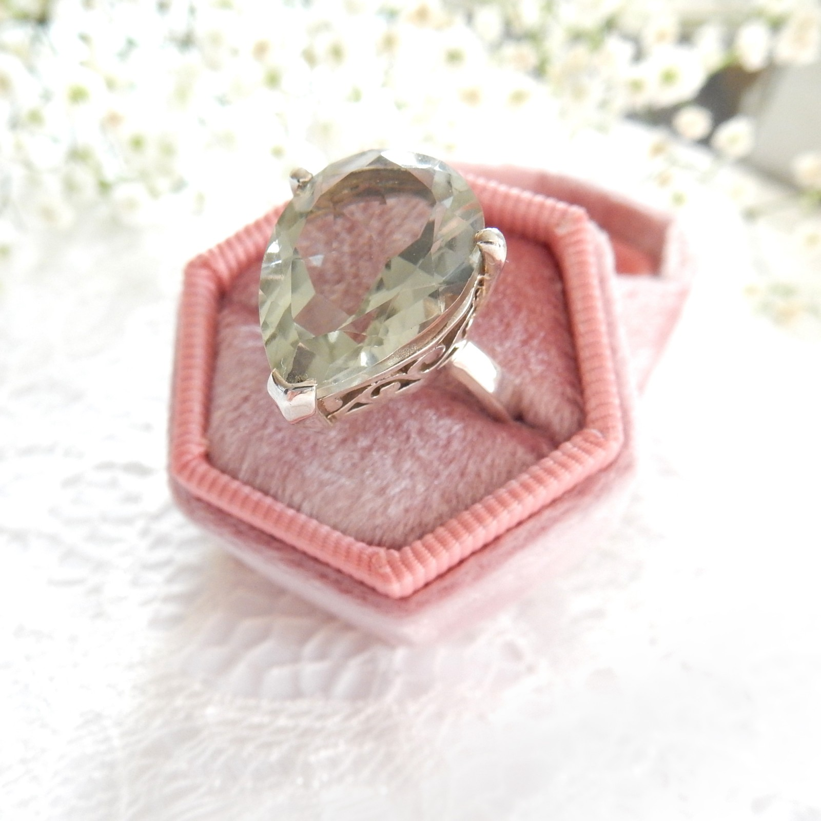 Photo of Brazilian Green Topaz Dress Ring Solid Silver Fine Jewelery