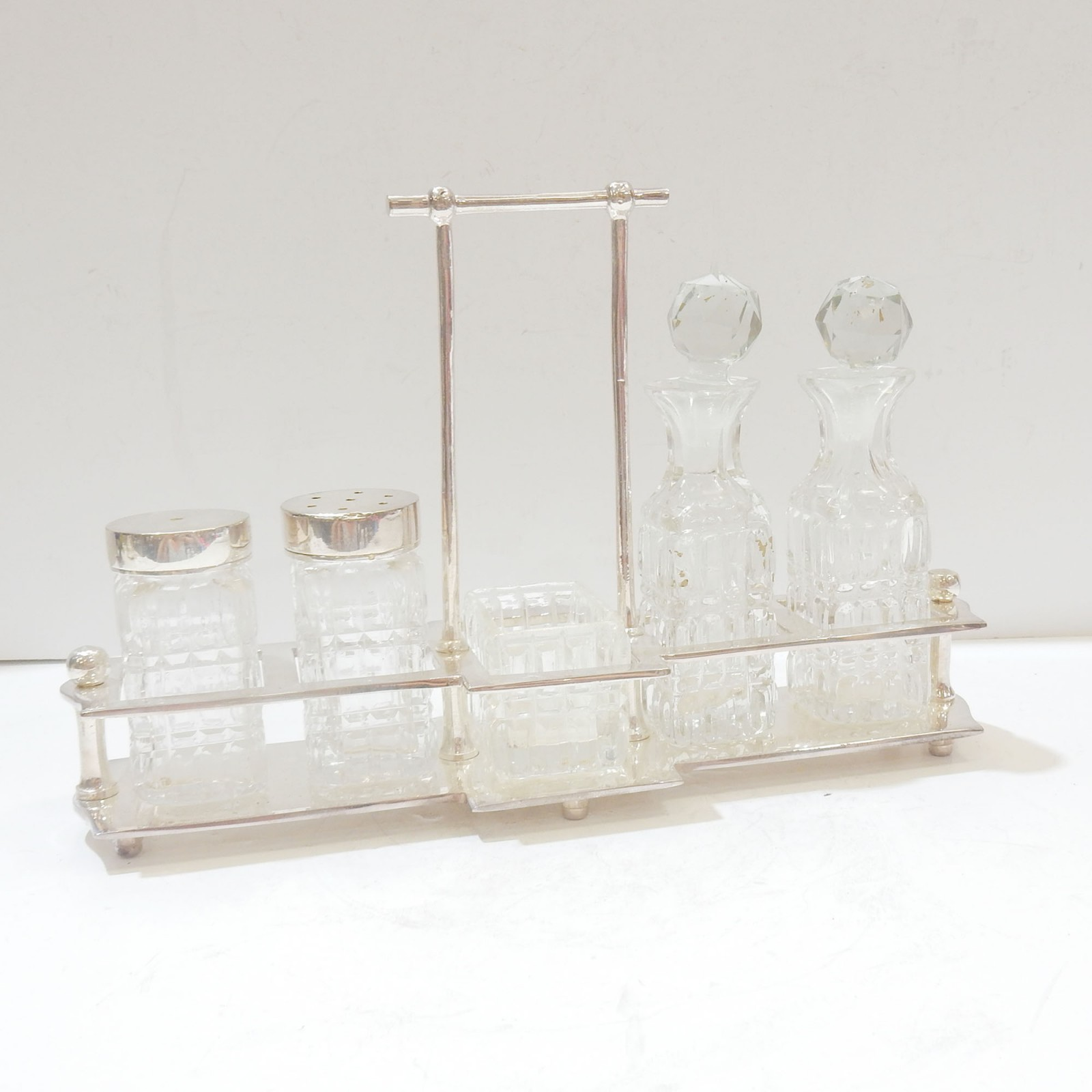 Photo of Crystal Glass Condiment Sauce Set Silverplate