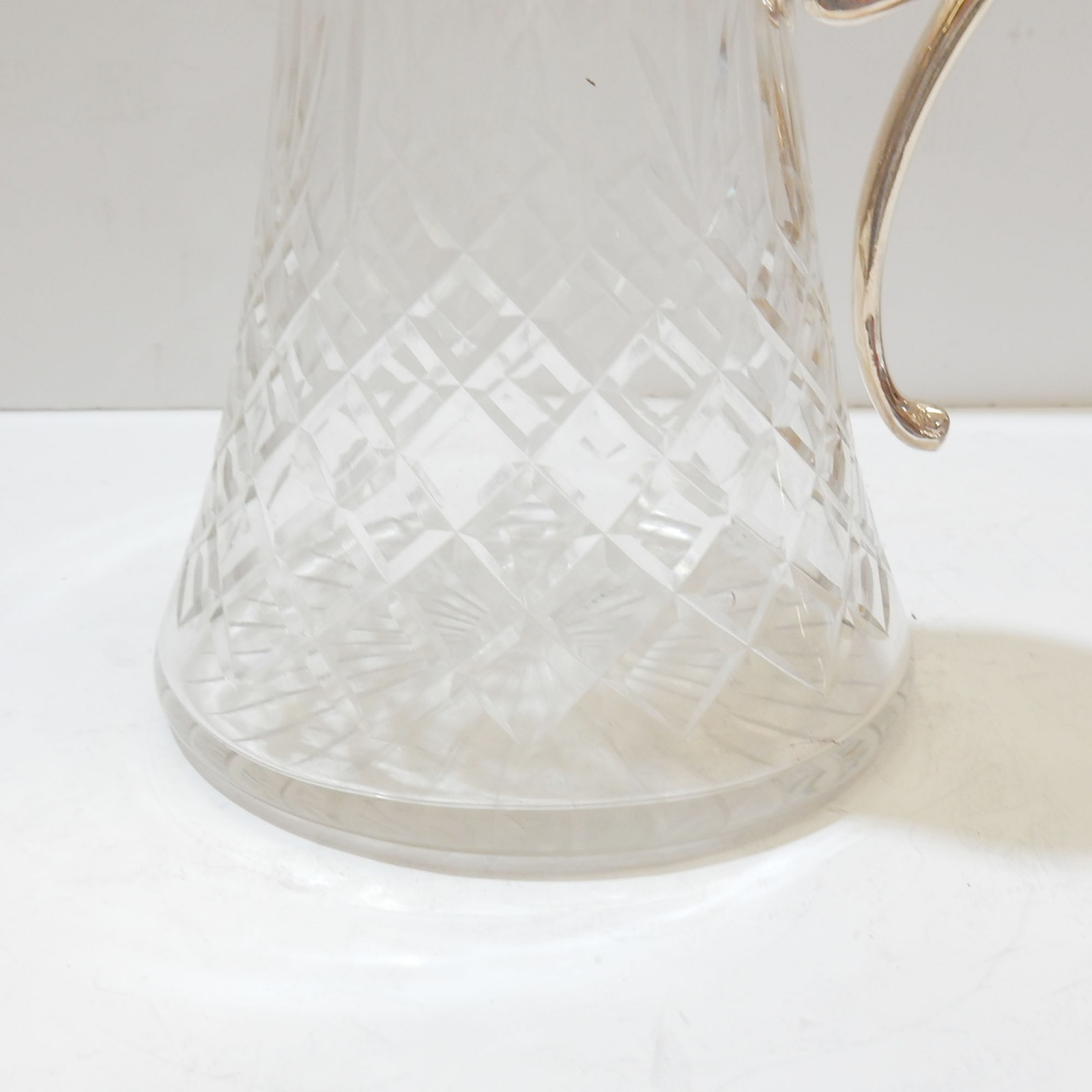 Photo of Cut Crystal Glass Decanter Jug Silverplate
