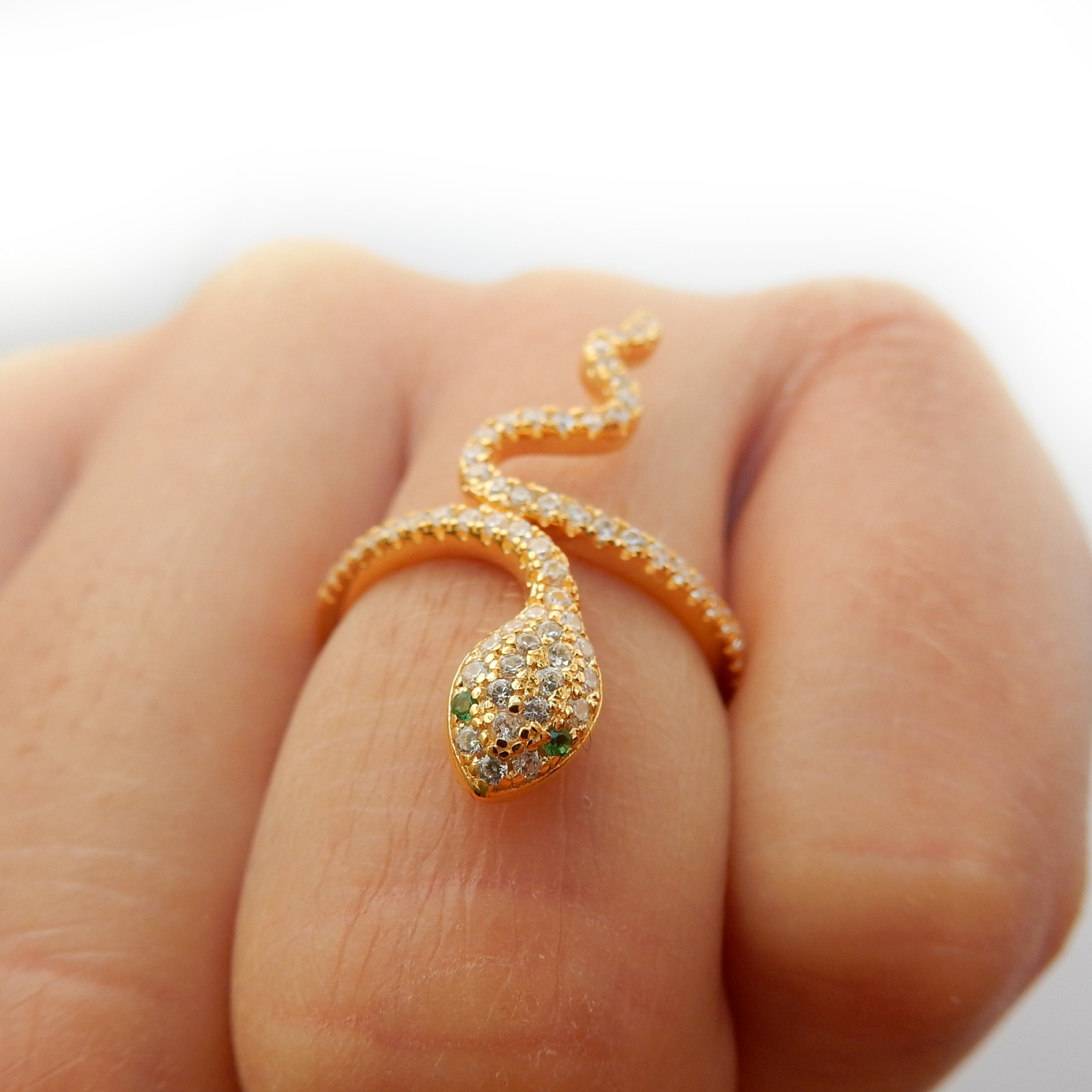 Photo of Delicate Vermeil Sterling Silver Snake Ring Chalcedony