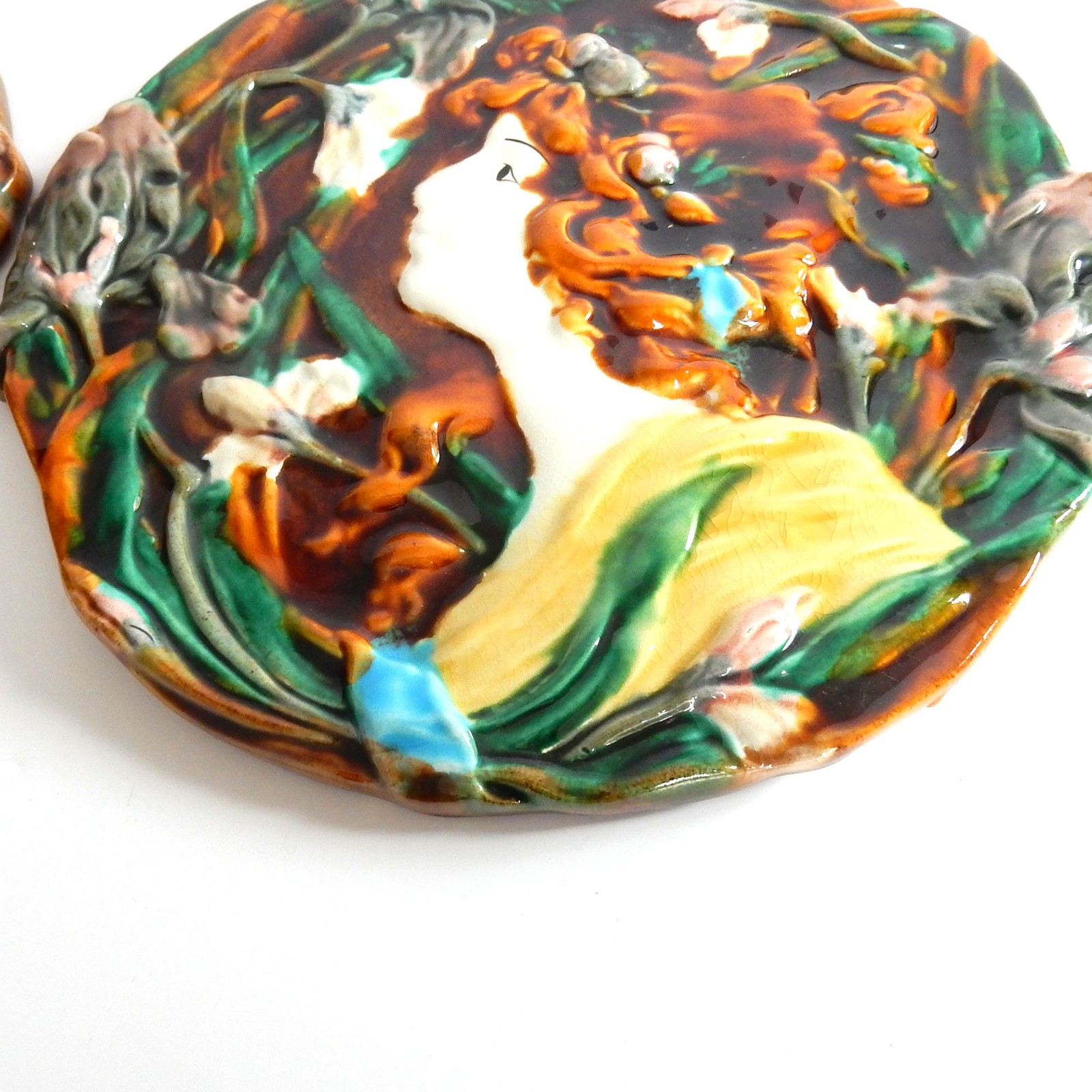 Photo of French Art Nouveau Lady Majolica Porcelain Ceramic Wall Plaques Plates