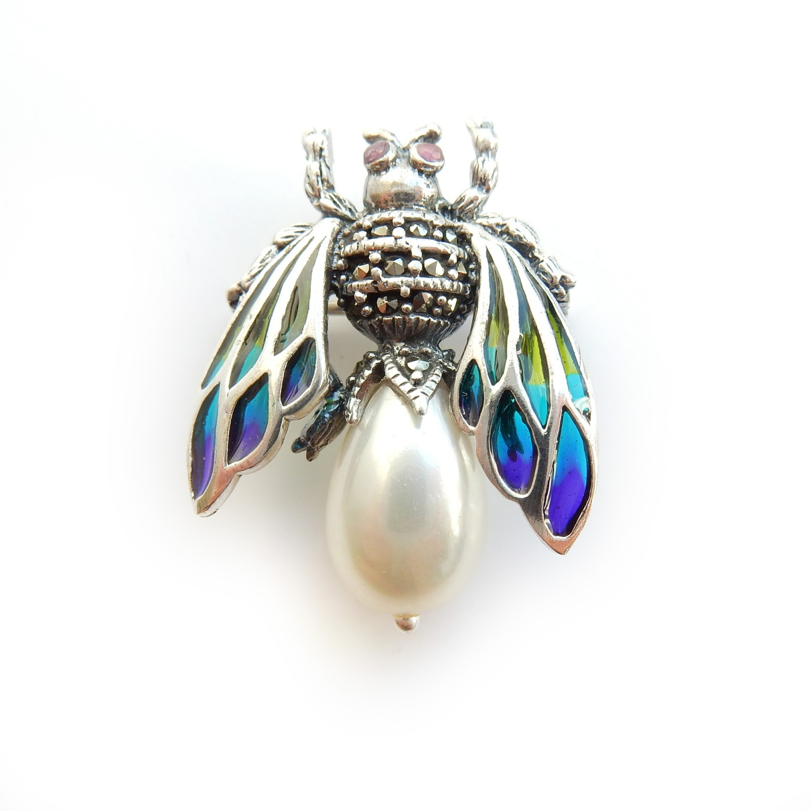 Photo of Freshwater Pearl Wasp Pendant Plique a Jour Enamel Solid Silver
