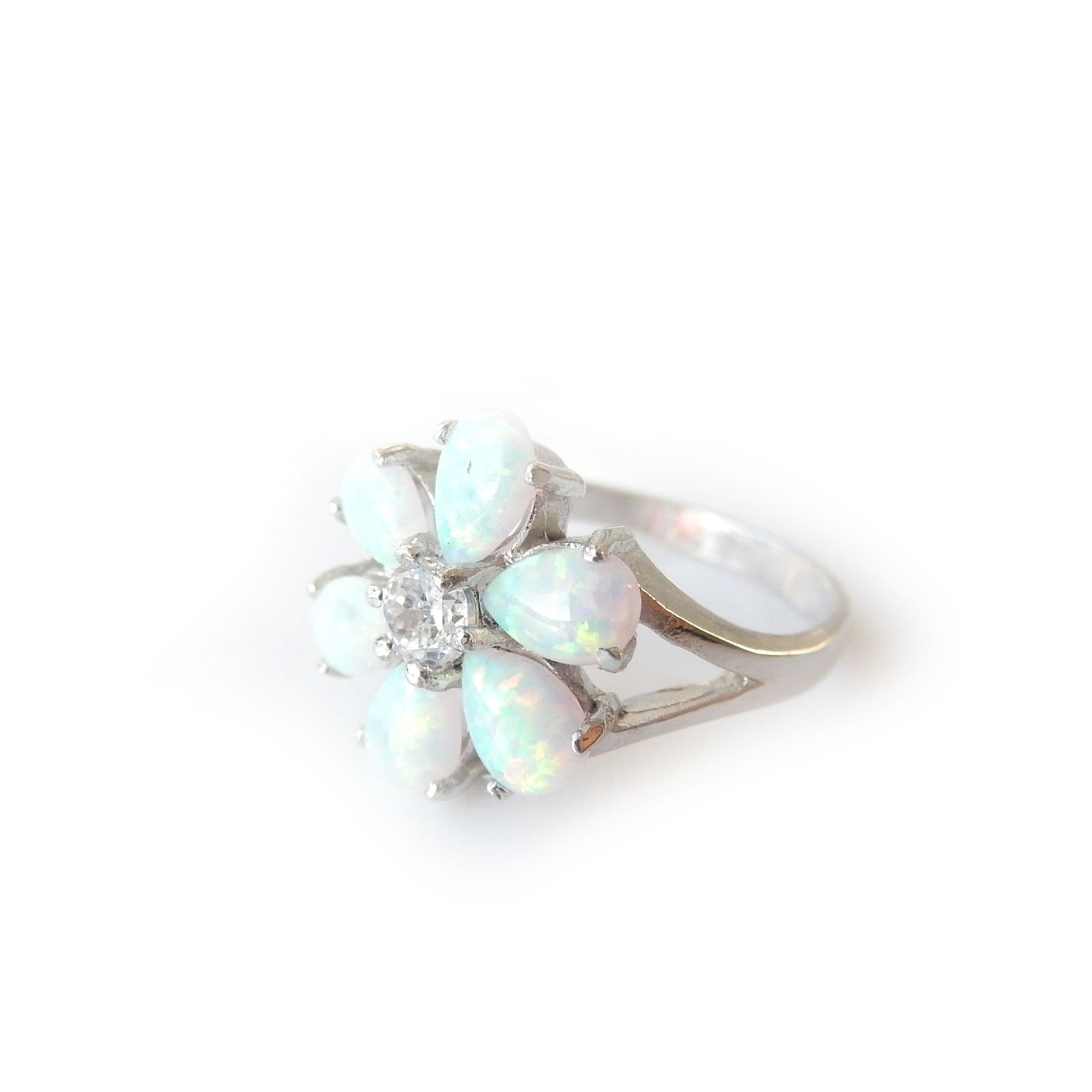 Photo of Genuine Opal Flower Ring Sterling Silver