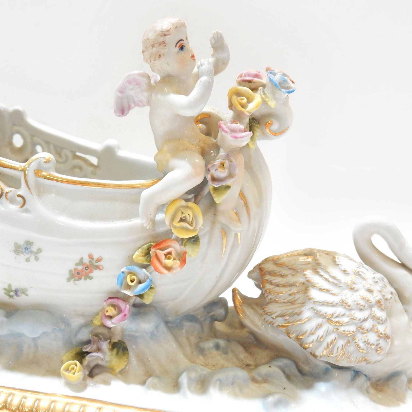 Photo of German Porcelain Cherub Putti Swan Chariot Trinket