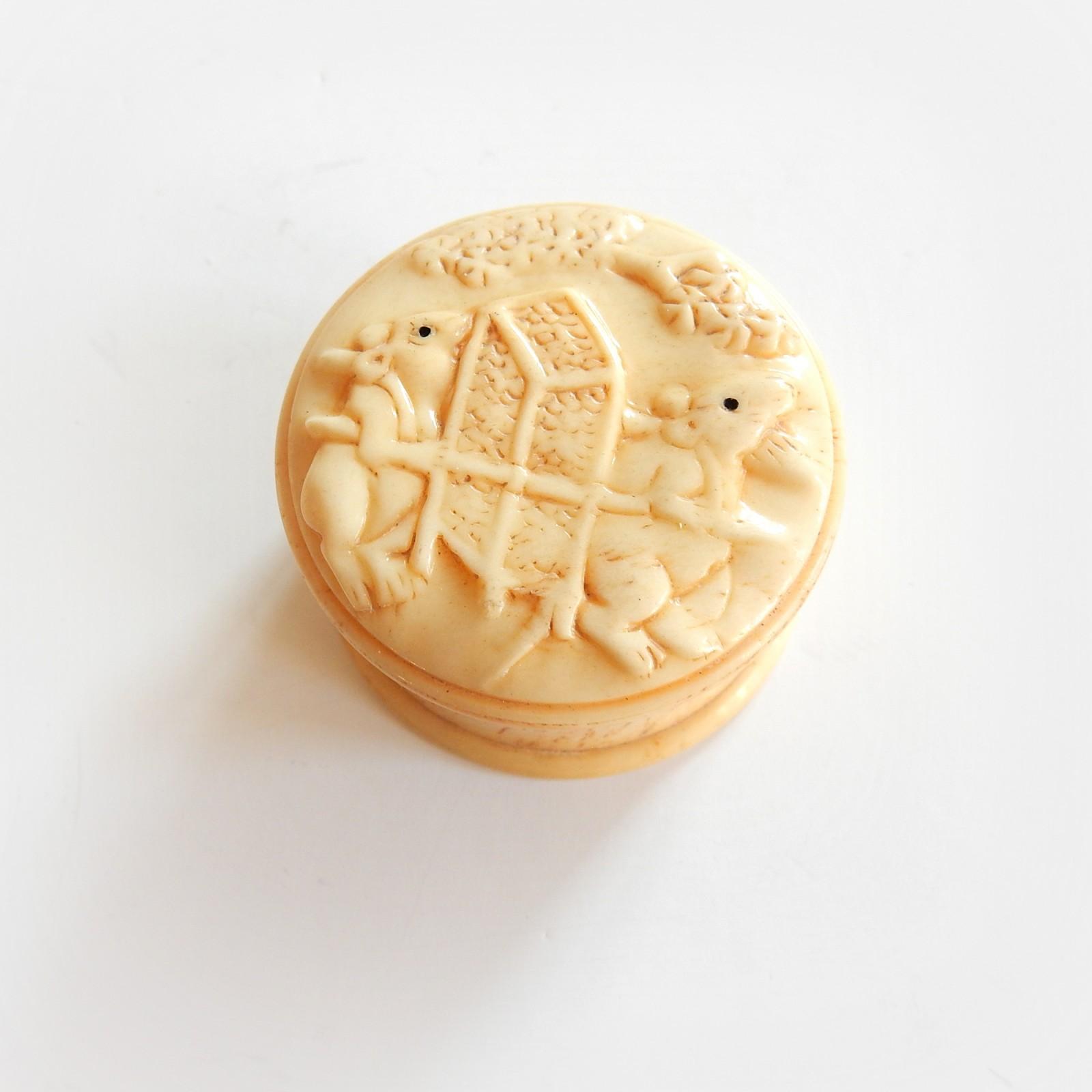 Photo of Hand Carved Ebony Rat Ox Bone Trinket Pill Box