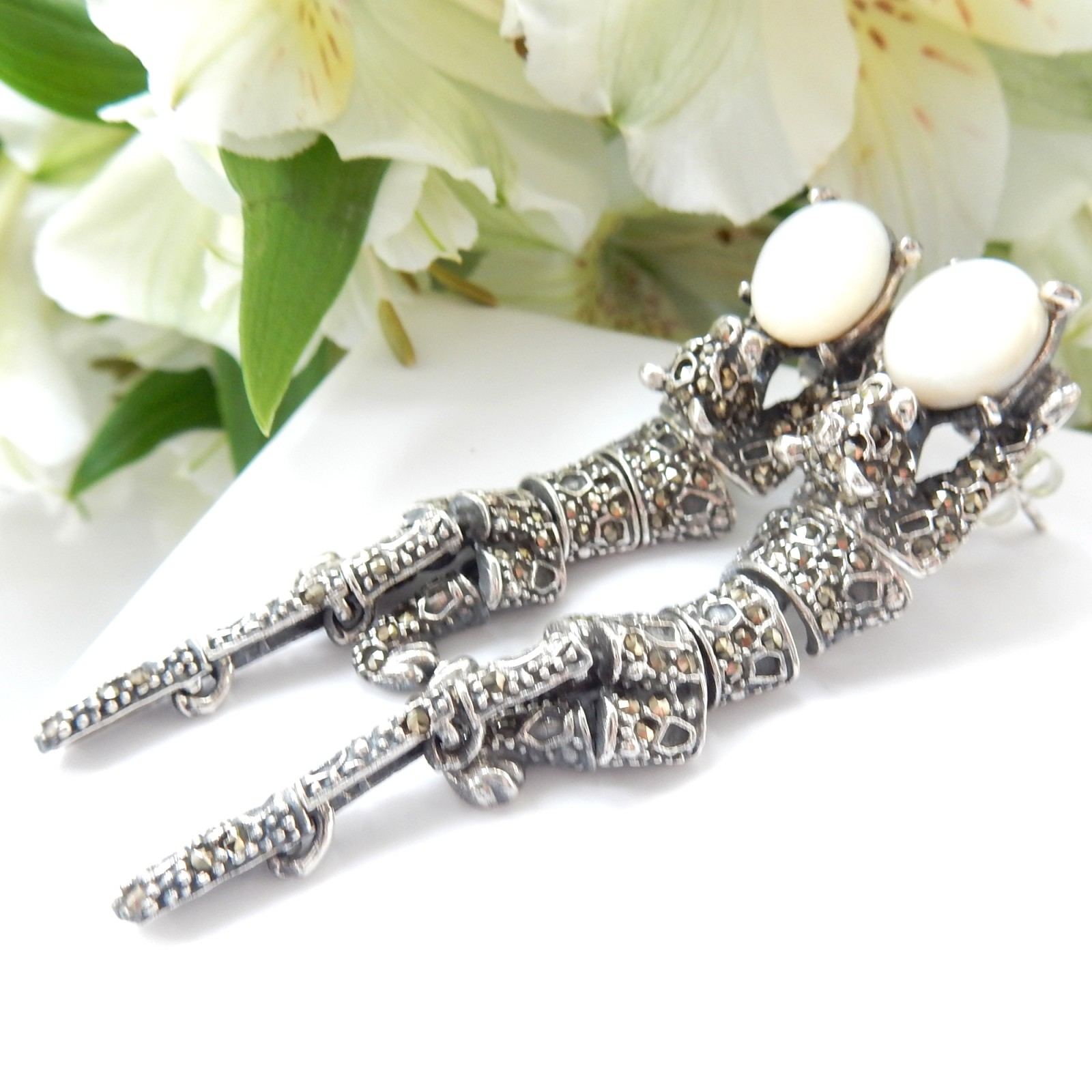 Photo of Marcasite Moonstone Panthere Wild Cat Earrings Solid Silver Fine Deco Jewelery