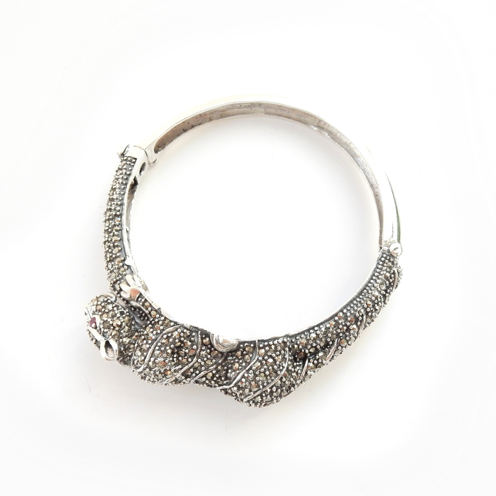 Photo of Marcasite Wild Cat Panthere Bracelet Bangle Cuff Solid Silver Fine Jewelery