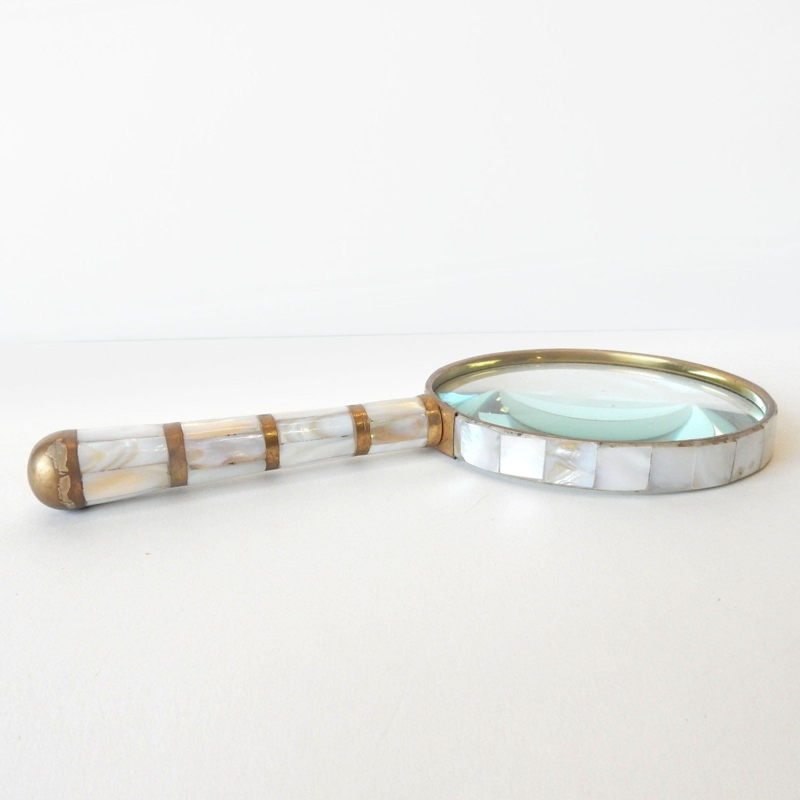 Photo of Mother of Pearl Brass Inlay Magnifying Glass Stamp Collector Crafting Tool