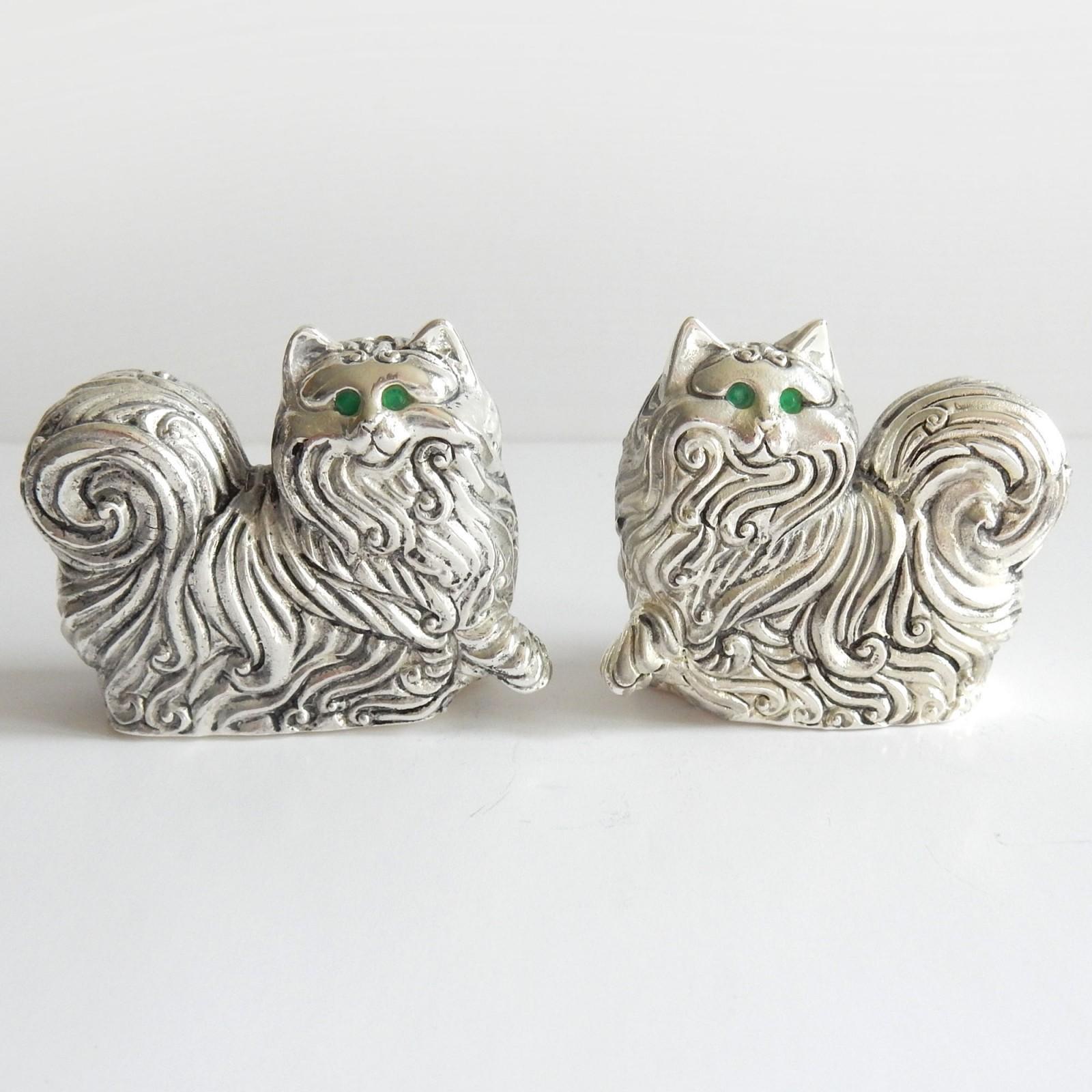 Photo of Novelty Emerald Silverplate Persian Cat Salt & Pepper Pot