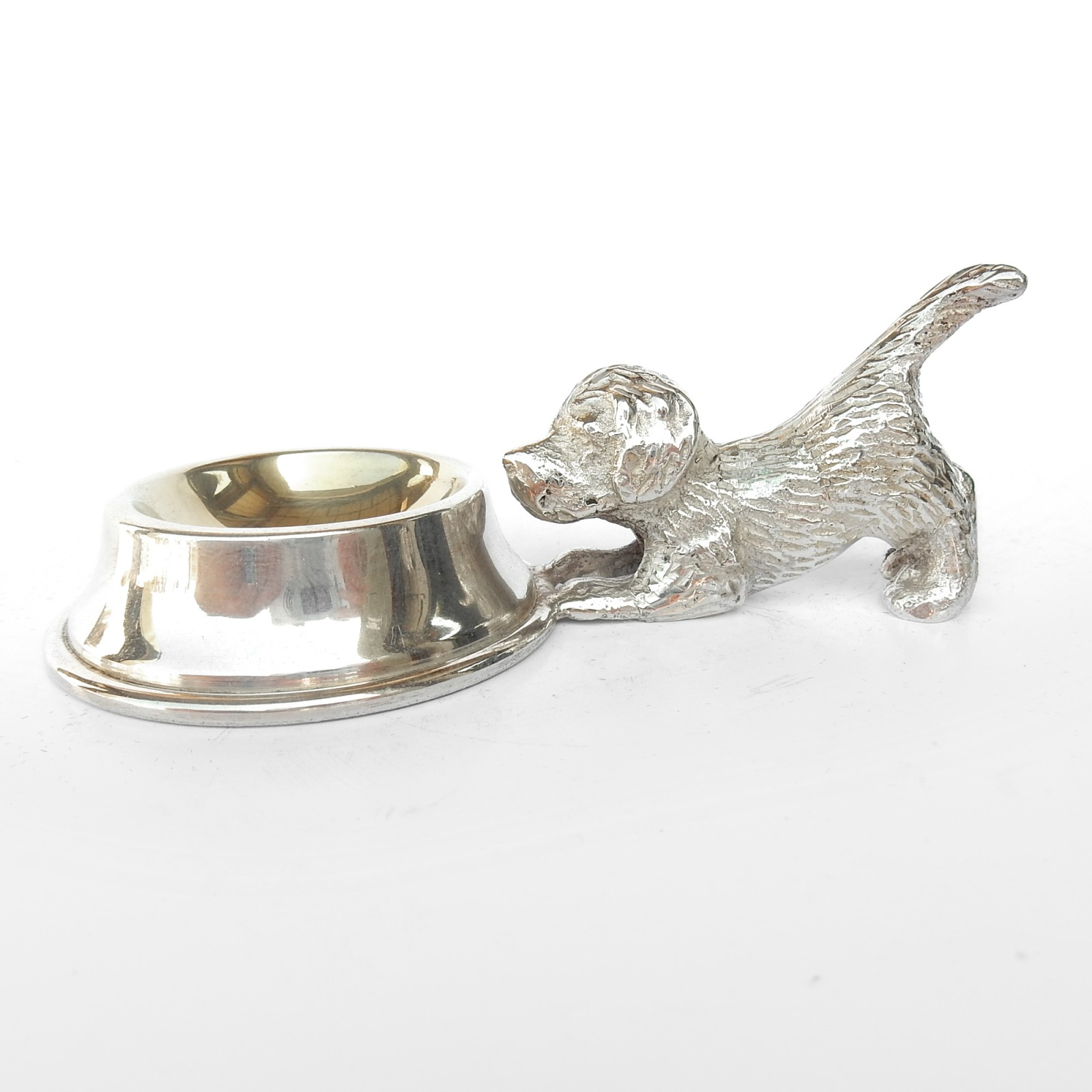Photo of Novelty Silverplated Dog with Bowl Table Salt Cellar