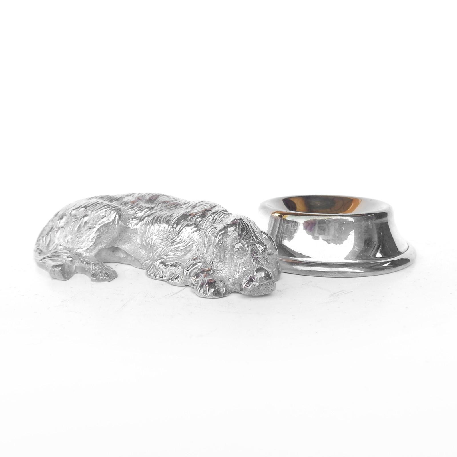Photo of Novelty Silverplated Sleeping Dog Table Salt Cellar