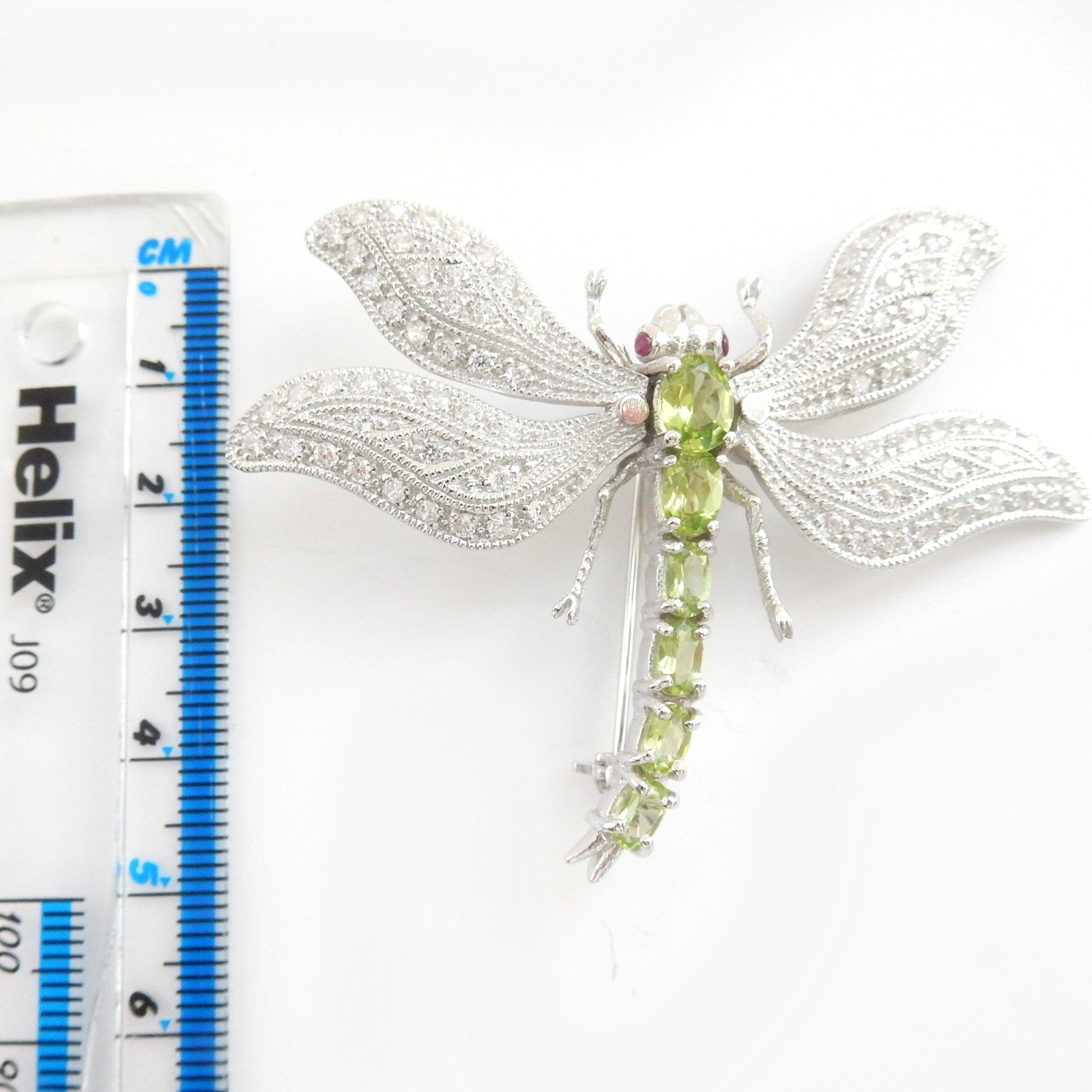 Photo of Peridot Ruby Cubic Zirconia Dragonfly Brooch Solid Silver Fine Jewelery
