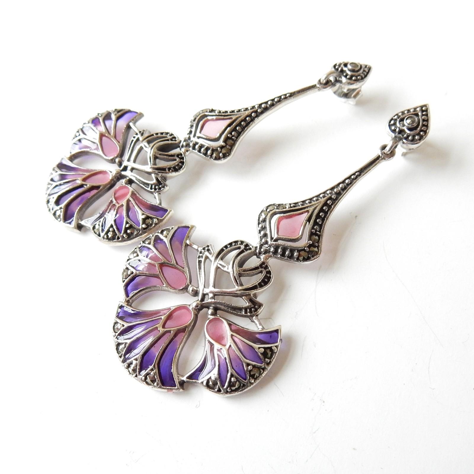 Photo of Plique a Jour Enamel Fleur De Lis Earrings Solid Silver