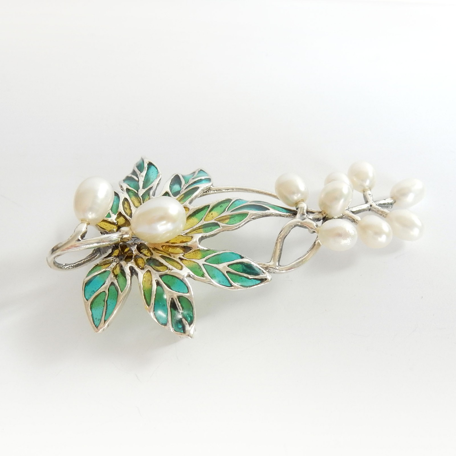 Photo of Plique a Jour Enamel Freshwater Pearl Leaf & Berry Pendant Brooch