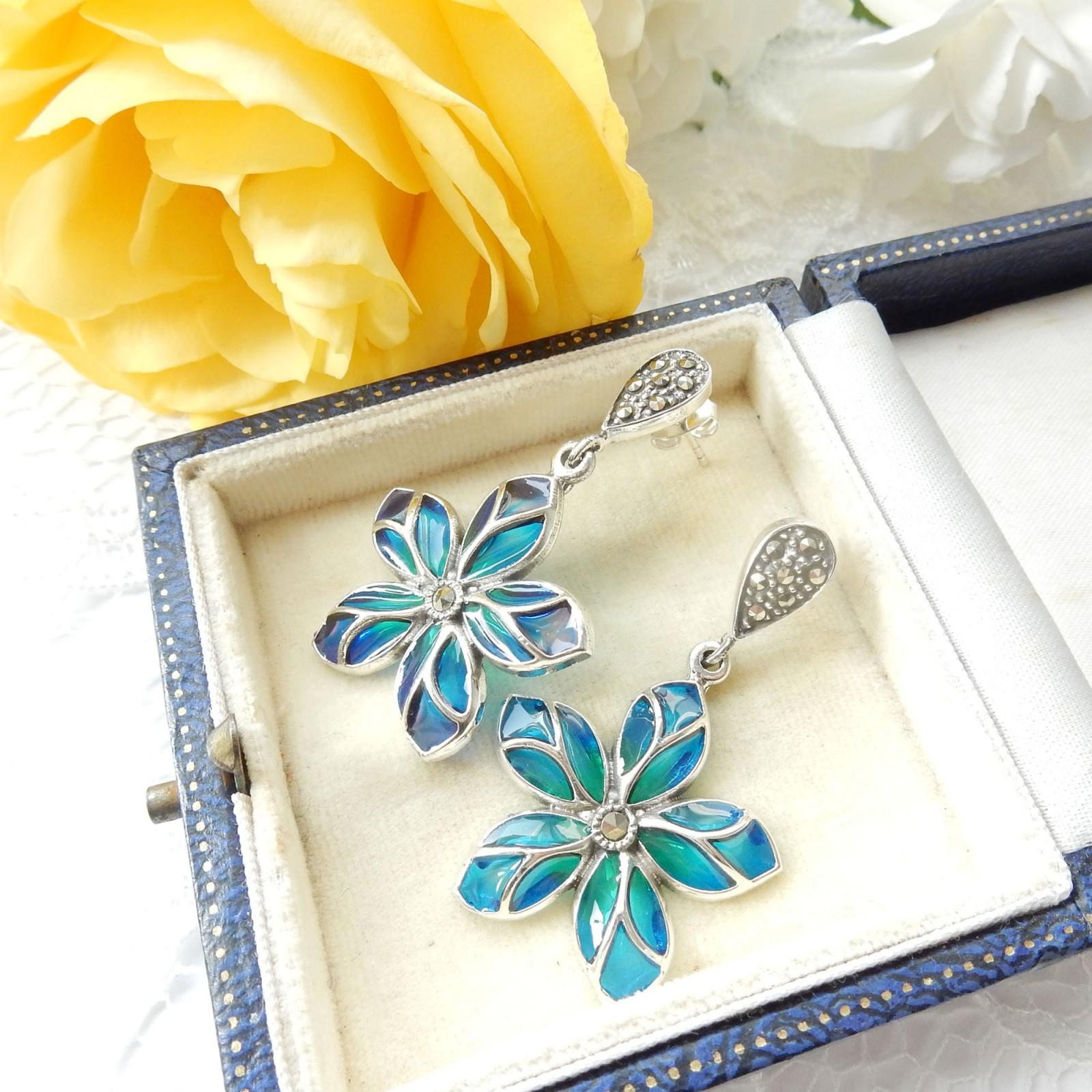 Photo of Plique a Jour Enamel Marcasite Flower Delicate Droplet Earrings Sterling Silver
