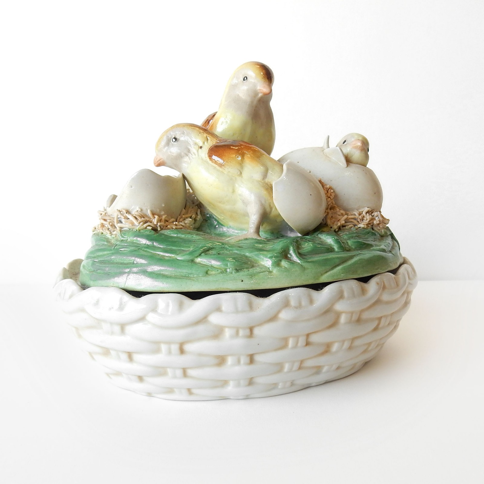 Photo of Porcelain Ceramic Chick Hen Egg Basket Lidded Bowl
