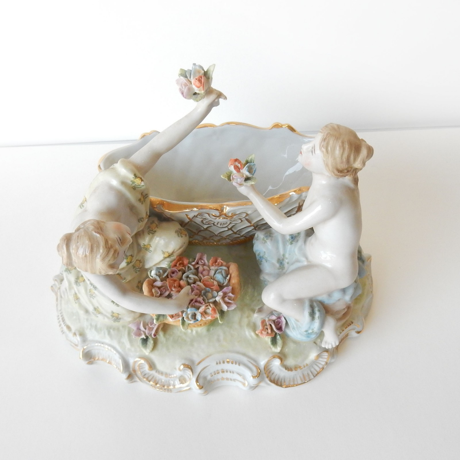 Photo of Porcelain Dresden Ladies Picking Gold Flowers Trinket Figurine