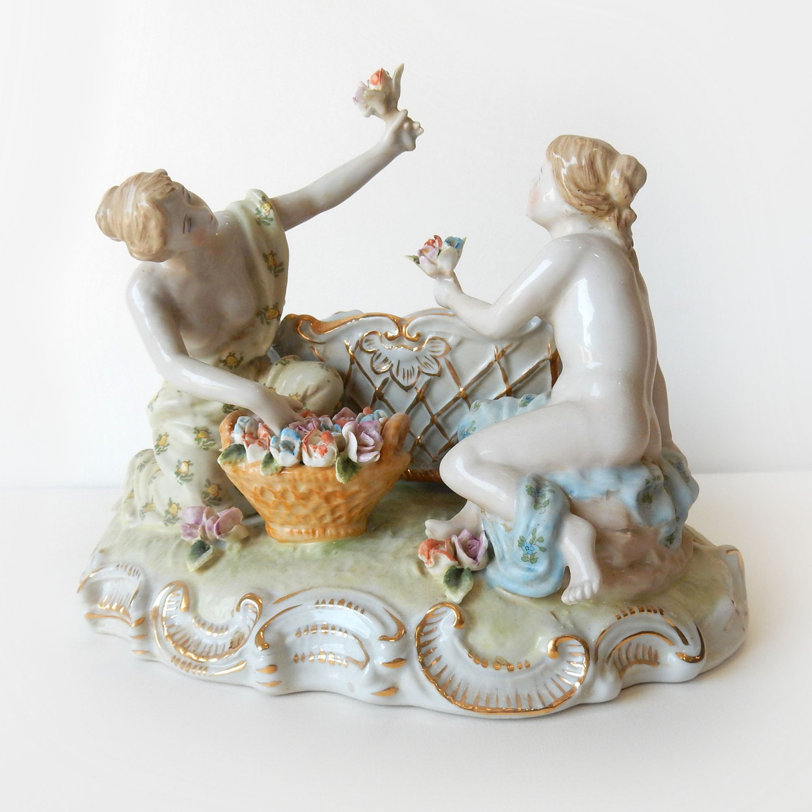 Photo of Porcelain Dresden Ladies Picking Gold Flowers Trinket Figurine