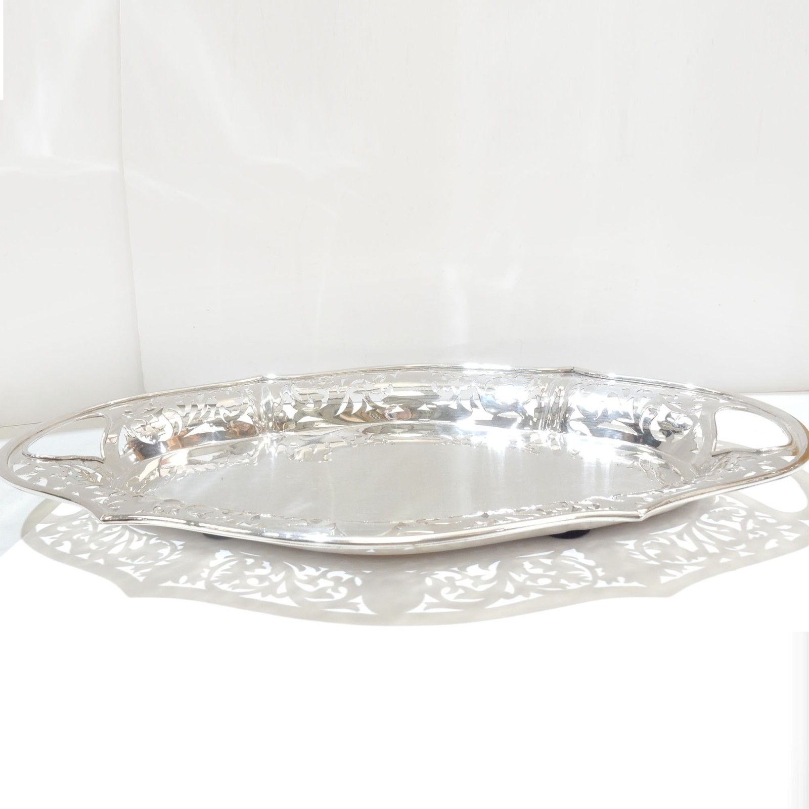 Photo of Sheffield Silverplate Pierced Butlers Tray Salver Gallery Tray