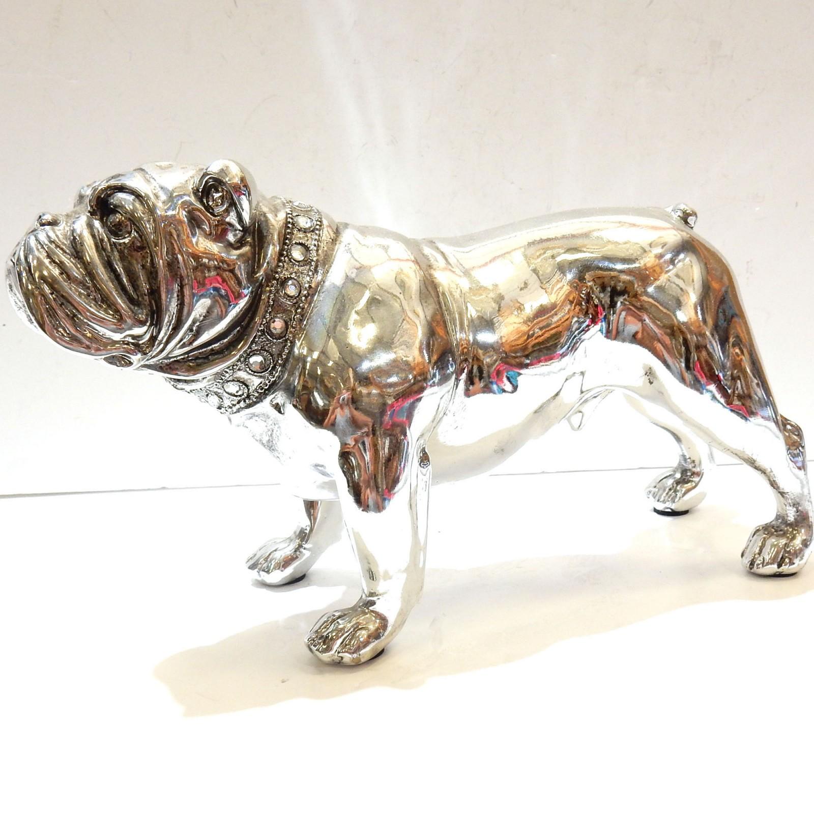 Photo of Silver Resin English Bulldog wearing Diamante Coller