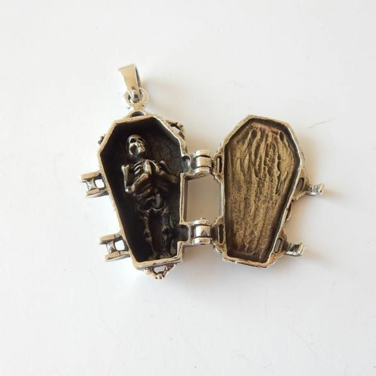 Photo of Silver Skeleton in Coffin Pendant