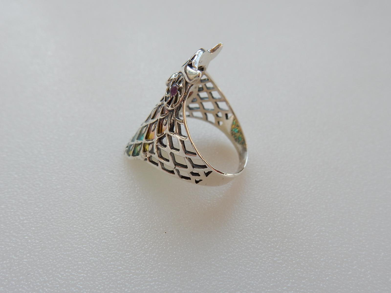 Photo of Silver & Plique a Jour Enamel Owl Ring
