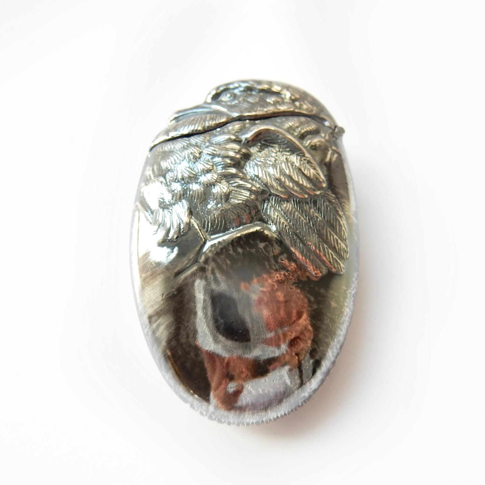 Photo of Silverplated Chick Hatching Egg Vesta Match Safe Snuff Box