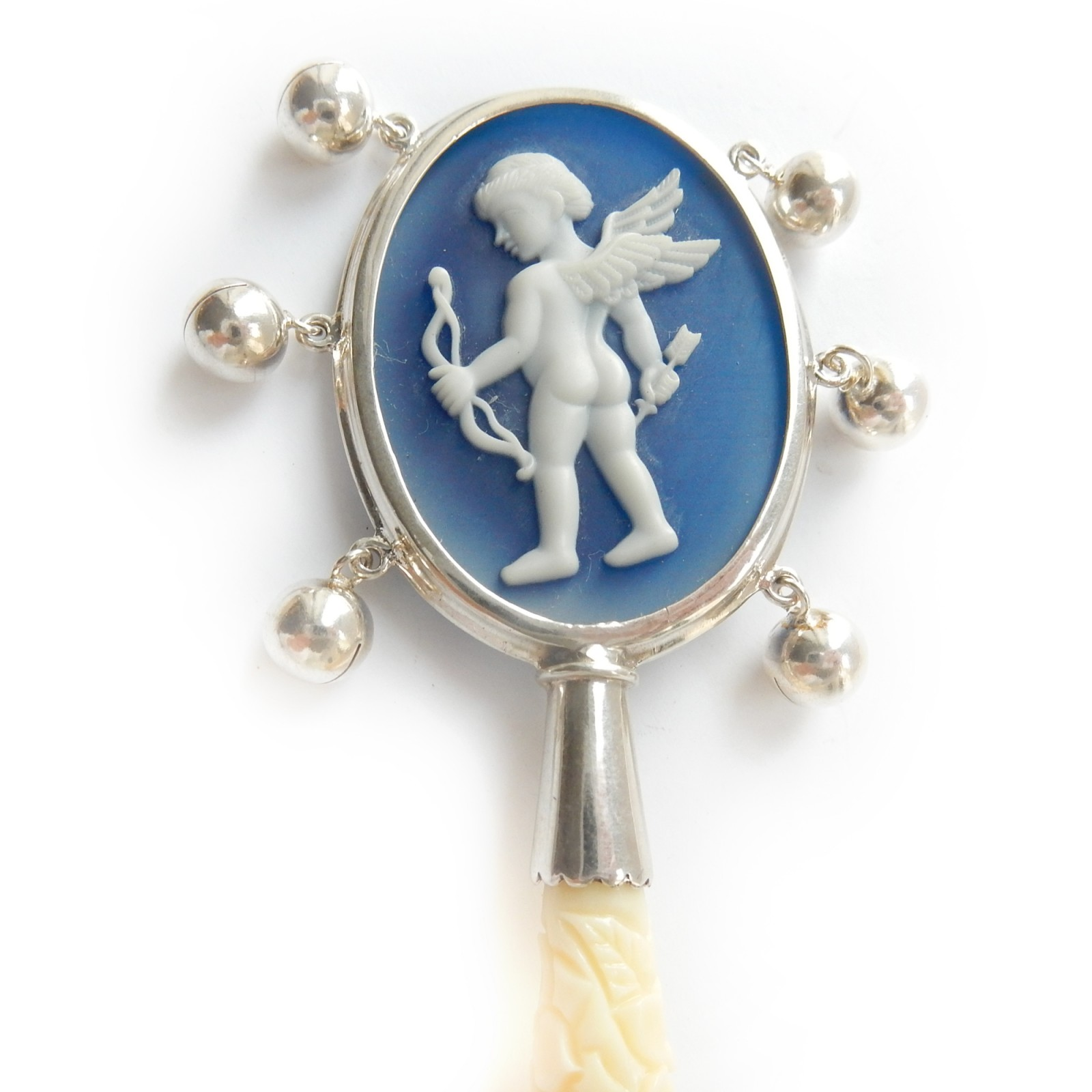 Photo of Solid Silver Carved Cameo Cherub Angel Baby Rattle Christening Gift