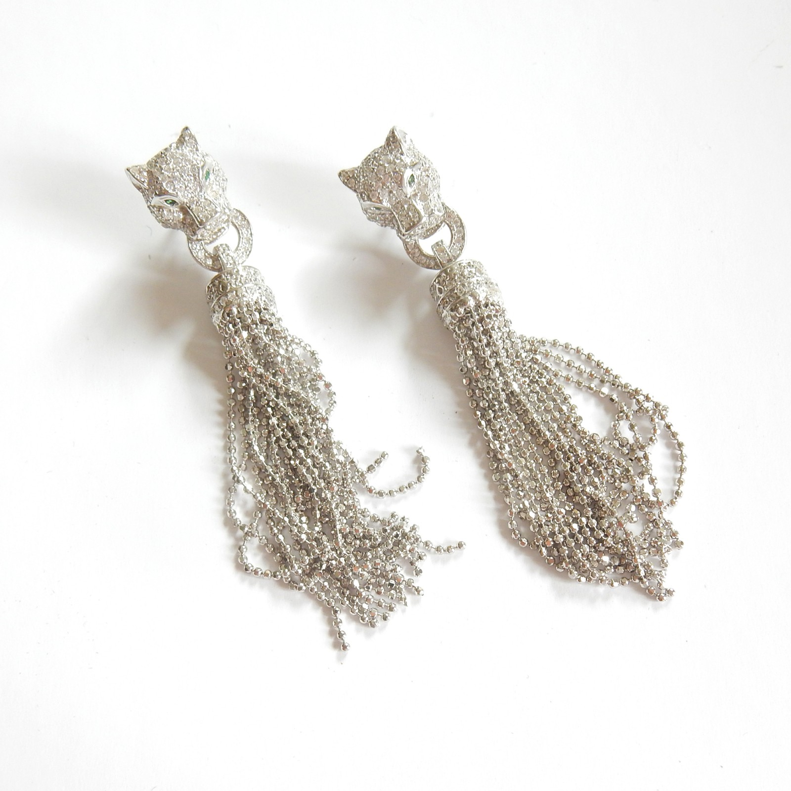 Photo of Solid Silver Emerald Panthere Earrings