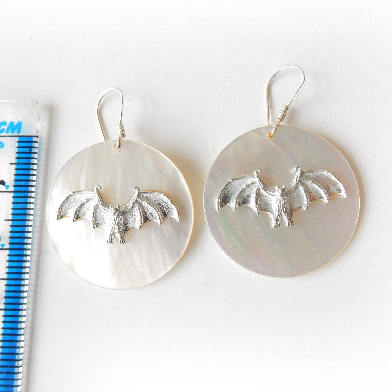 Photo of Solid Silver Pearl Bat Disc Earrings