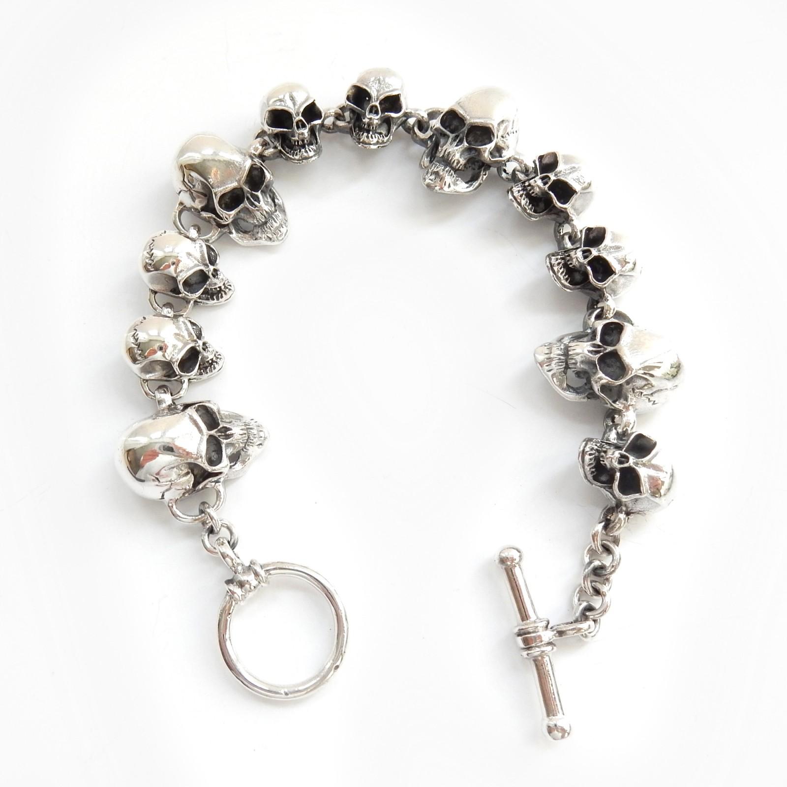 Photo of Solid Silver Skull Skeleton Toggle Bracelet Fine Skull Jewelery