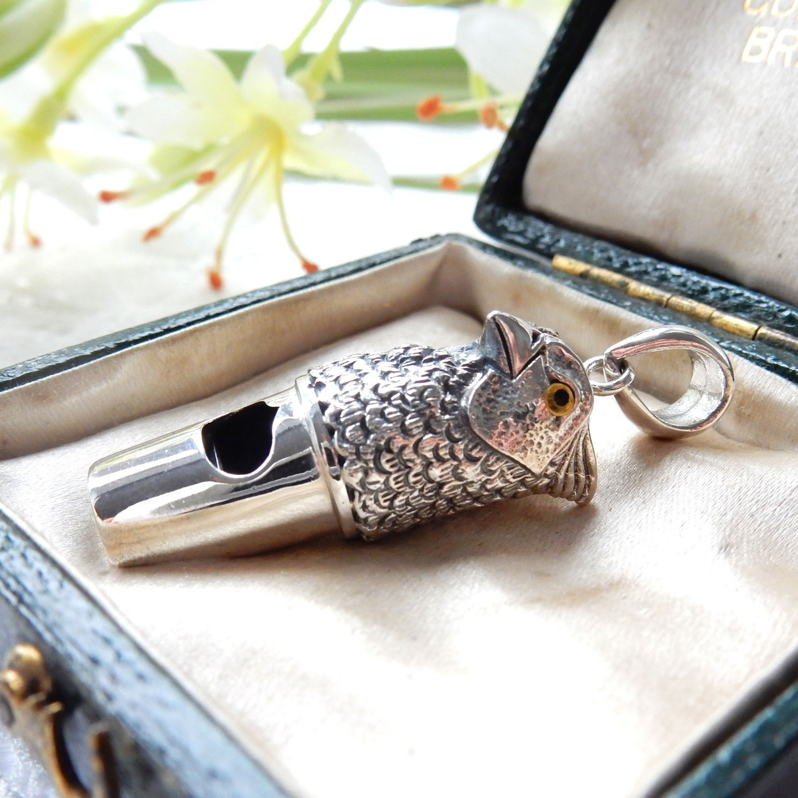 Photo of Sterling Silver Bird of Prey Eagle Whistle Pendant Charm