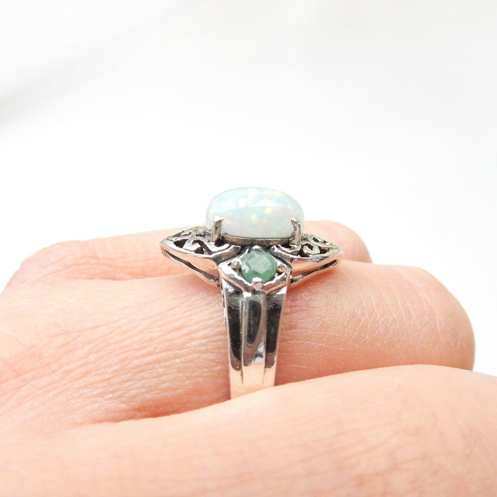 Photo of Sterling Silver Celtic Emerald Opal Ring US Size 8 May Birthstone