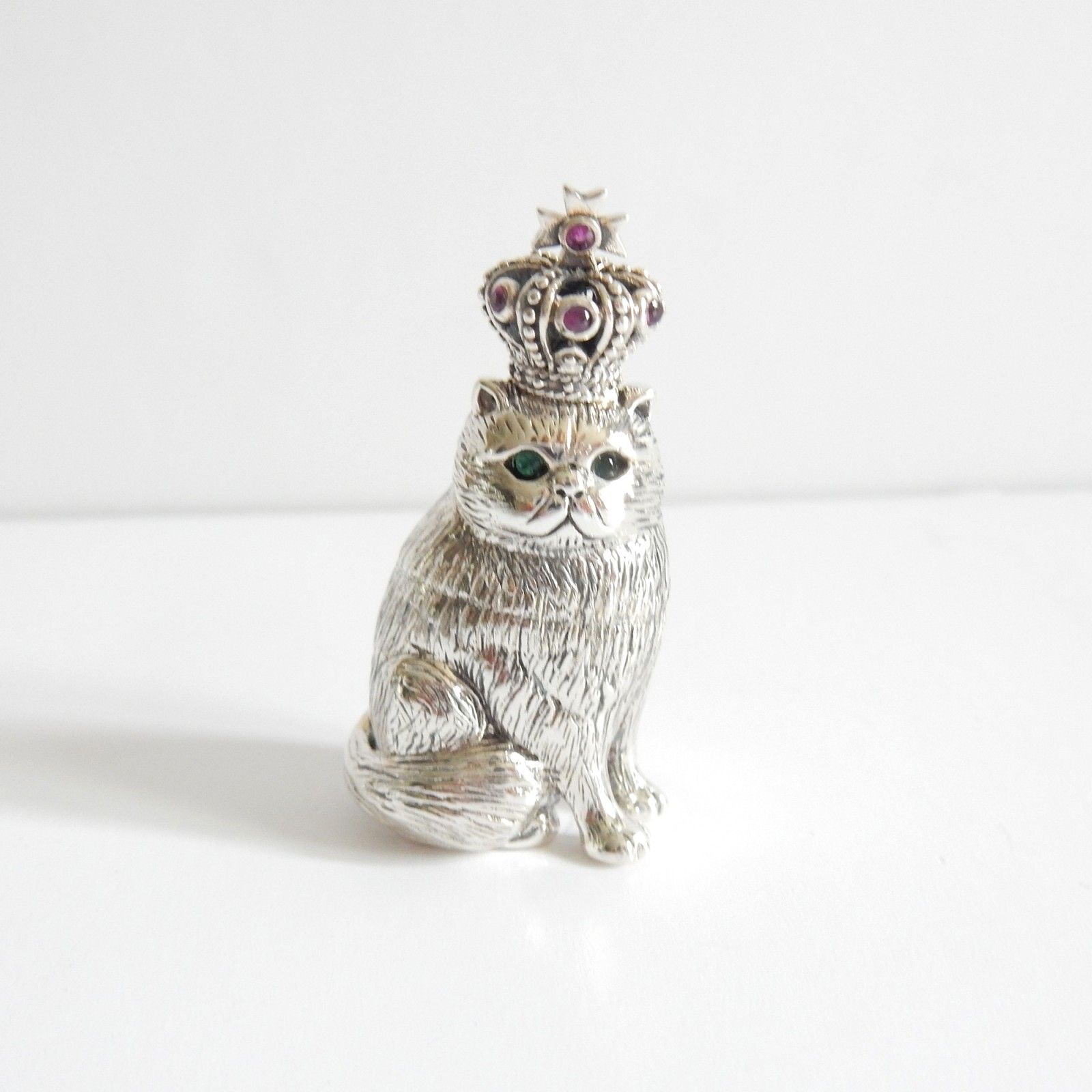 Photo of Sterling Silver Emerald Ruby Cat Wearing Crown Charm Mini Ornament