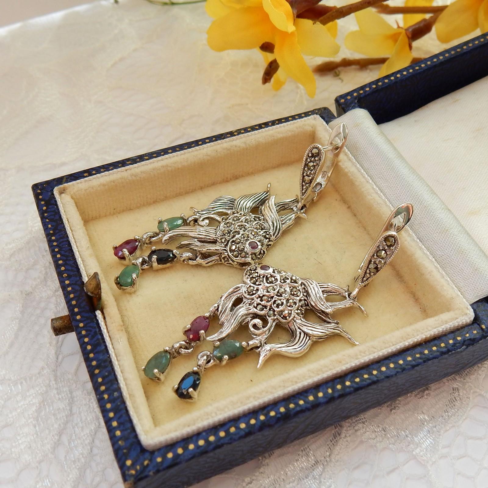 Photo of Sterling Silver Emerald Ruby Sapphire Oriental Fish Earrings