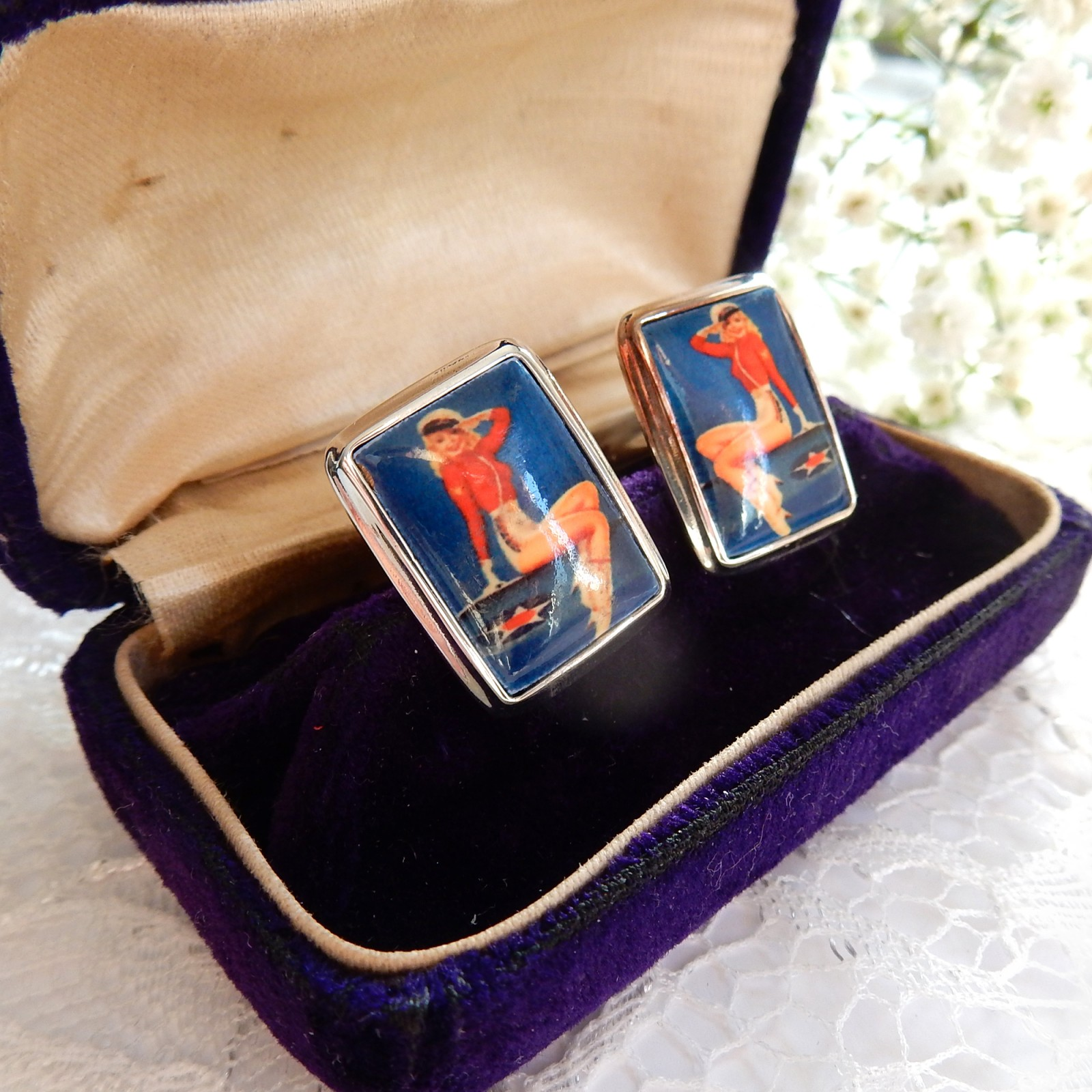 Photo of Sterling Silver Enamel Pin Up Girl Erotic Cufflinks Mens Jewelry