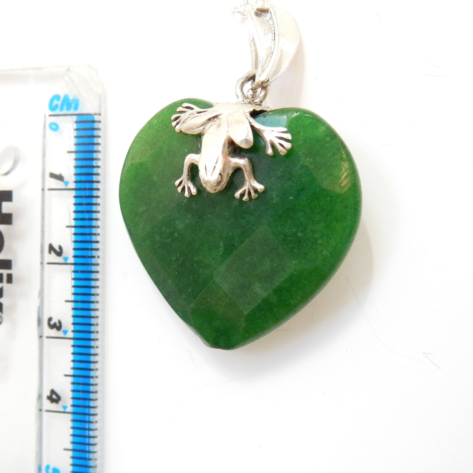 Photo of Sterling Silver Jade Frog Leaf Heart Pendant Necklace